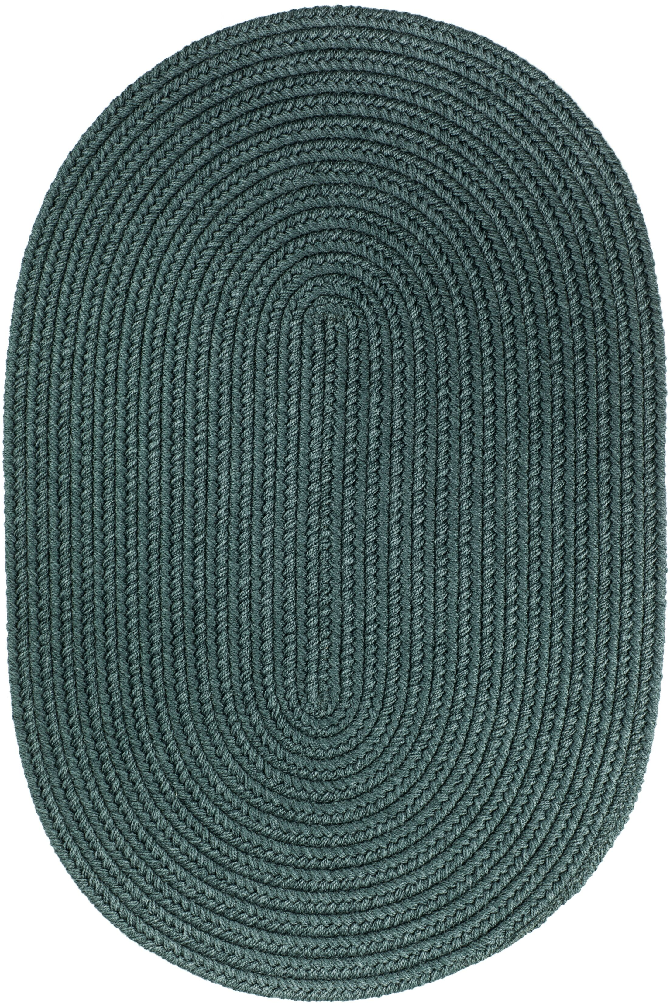Handmade Teal Indoor/Outdoor Area Rug Rug Size: Oval 7' x 9'
