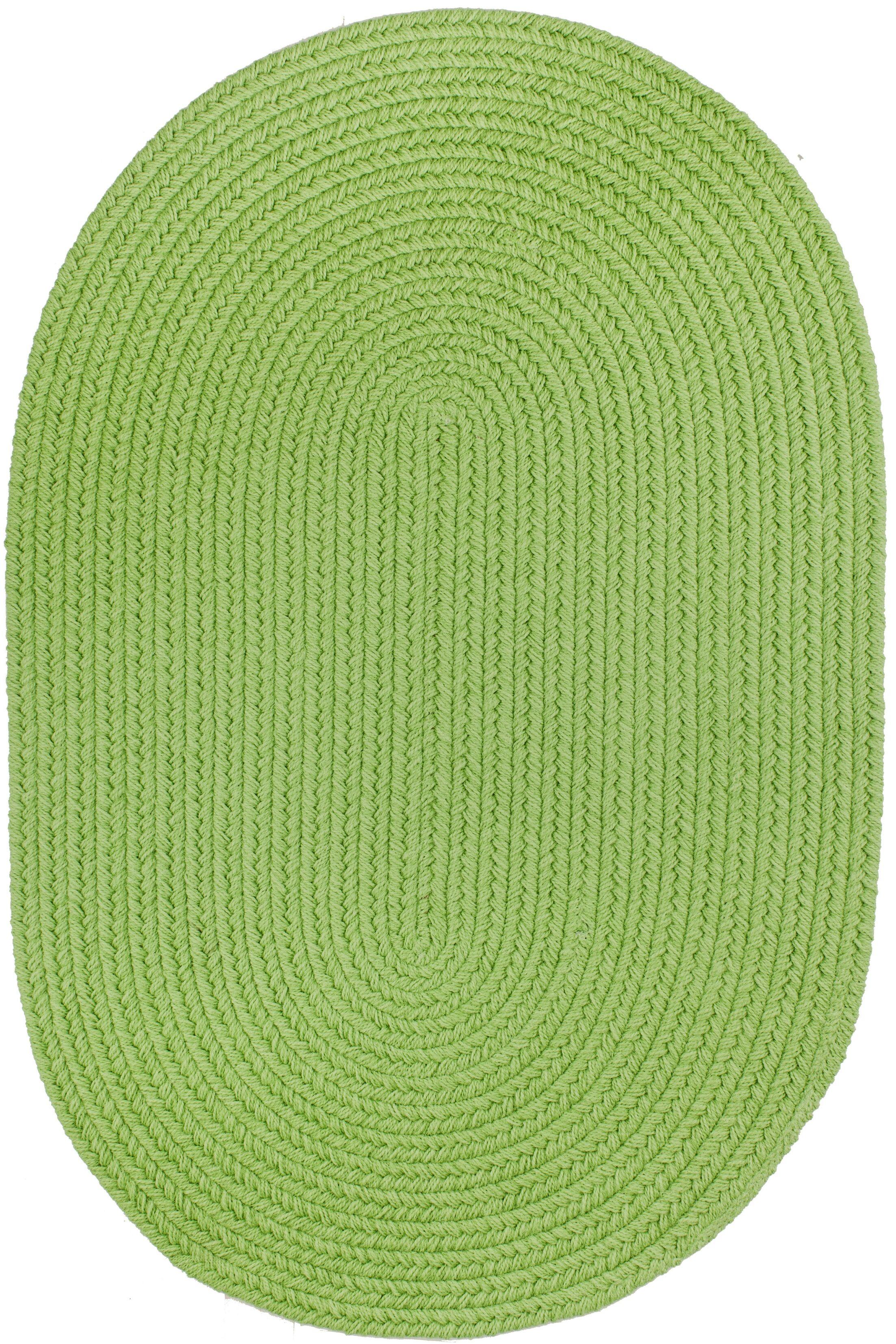 Handmade Lime Indoor/Outdoor Area Rug Rug Size: Oval  7' x 9'