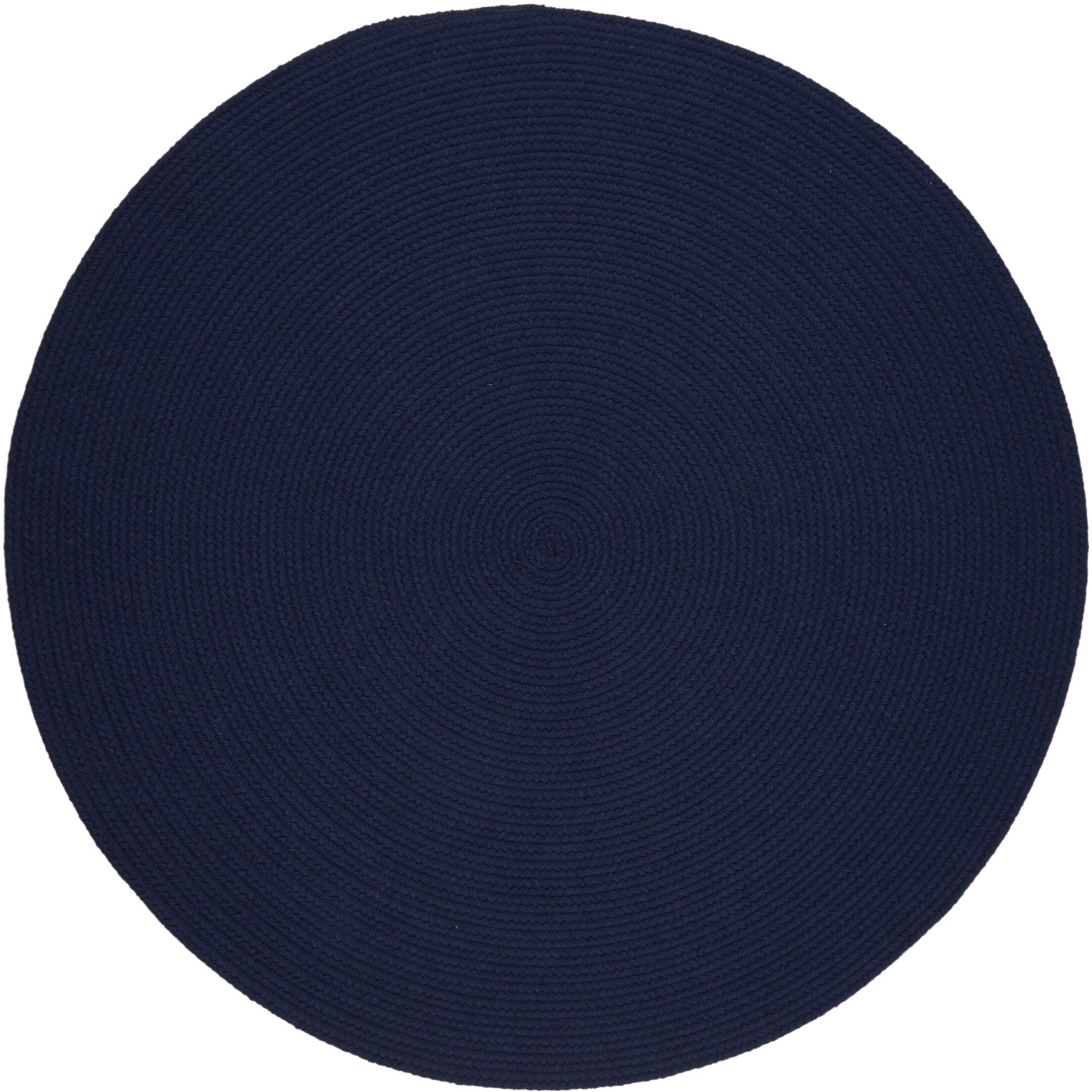 Handmade Navy Area Rug Rug Size: Round 10'