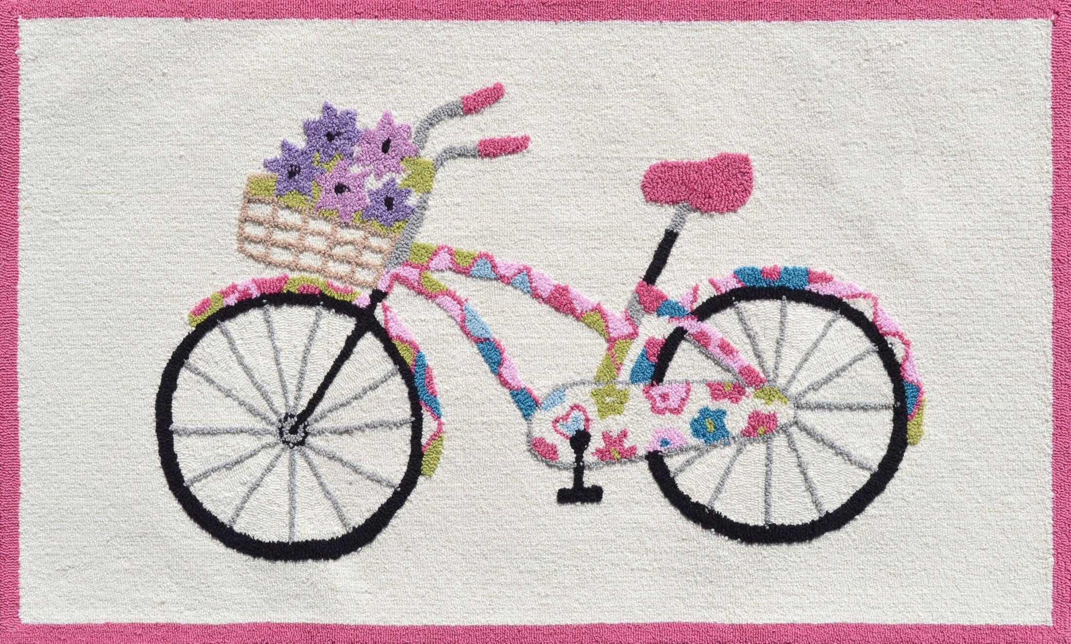 Pink/Cream Flower Bike Area Rug