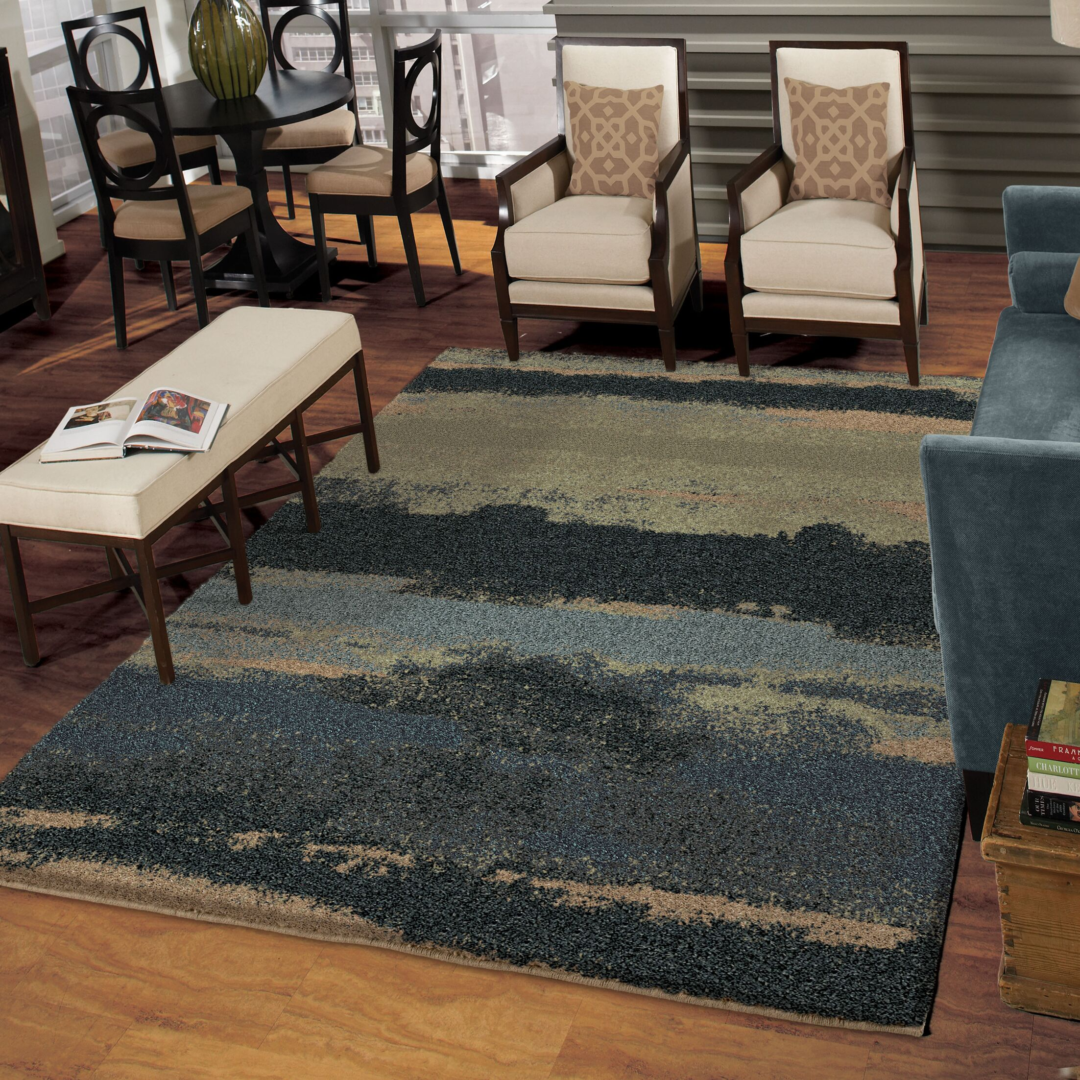 Cabell Gray/Blue Area Rug Rug Size: 5'3