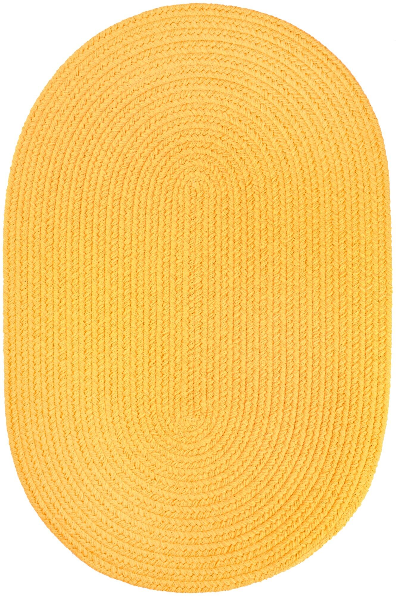 Handmade Yellow Indoor/Outdoor Area Rug Rug Size: Round 8'