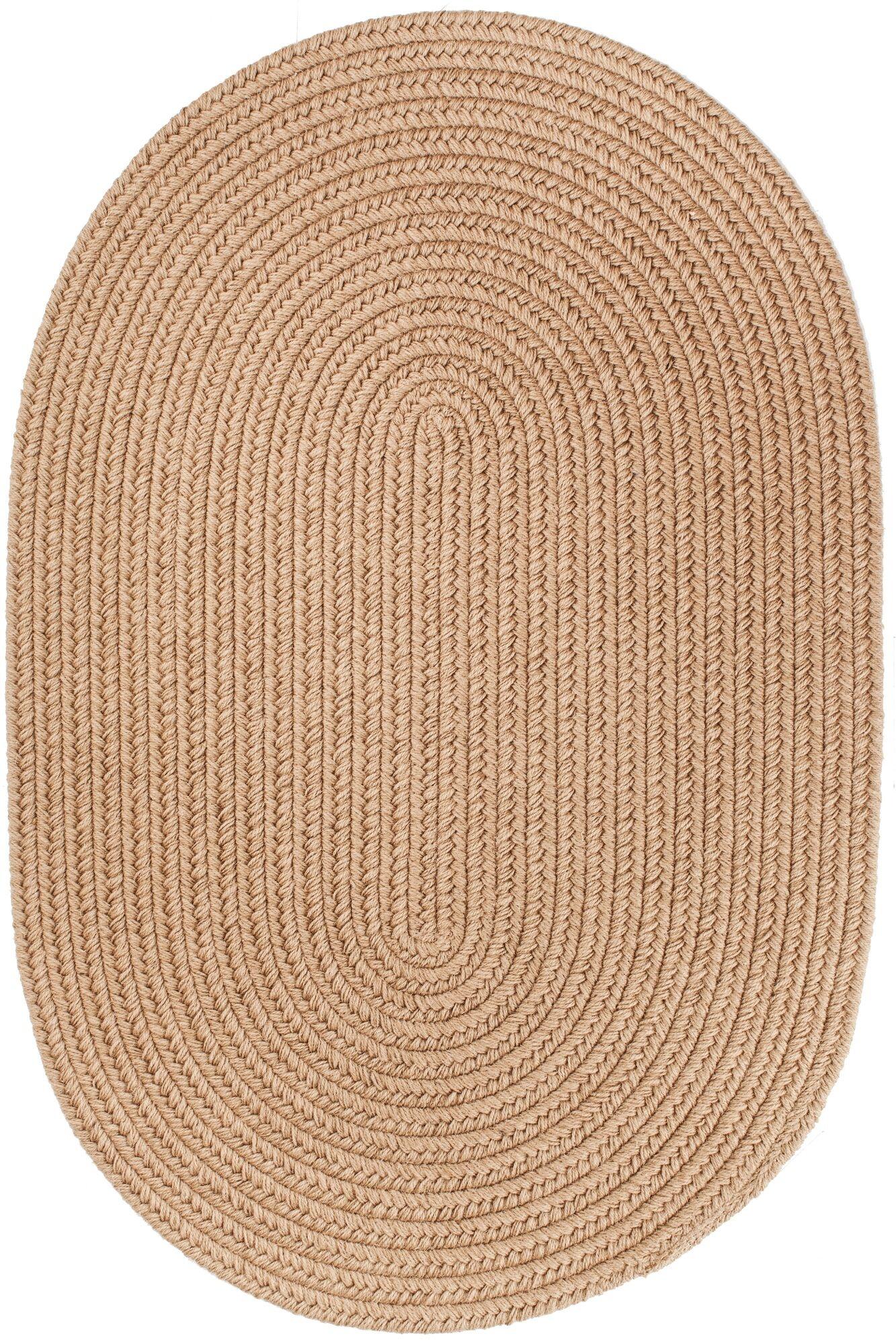 Handmade Taupe Area Rug Rug Size: Oval  3' x 5'