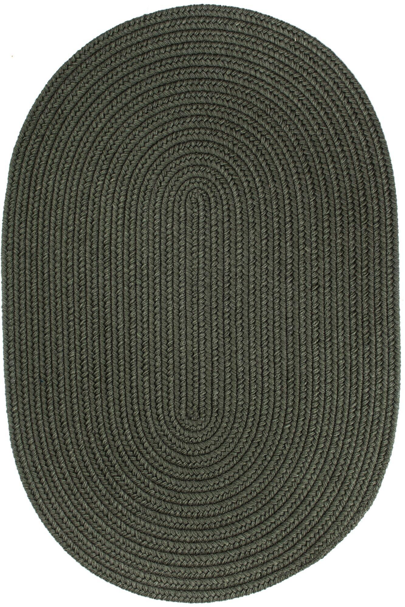 Handmade Dark Sage Area Rug Rug Size: Oval  4' x 6'