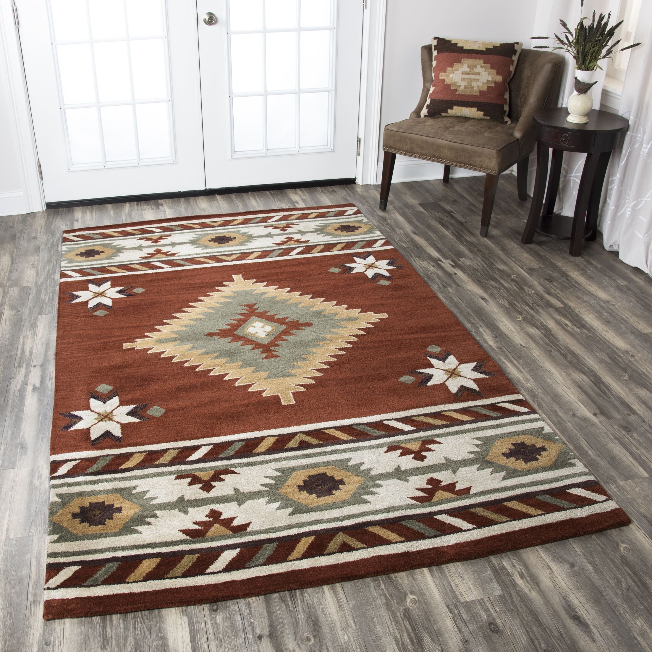 Owen Hand woven/Tufted Wool Area Rug Rug Size: Round 8'