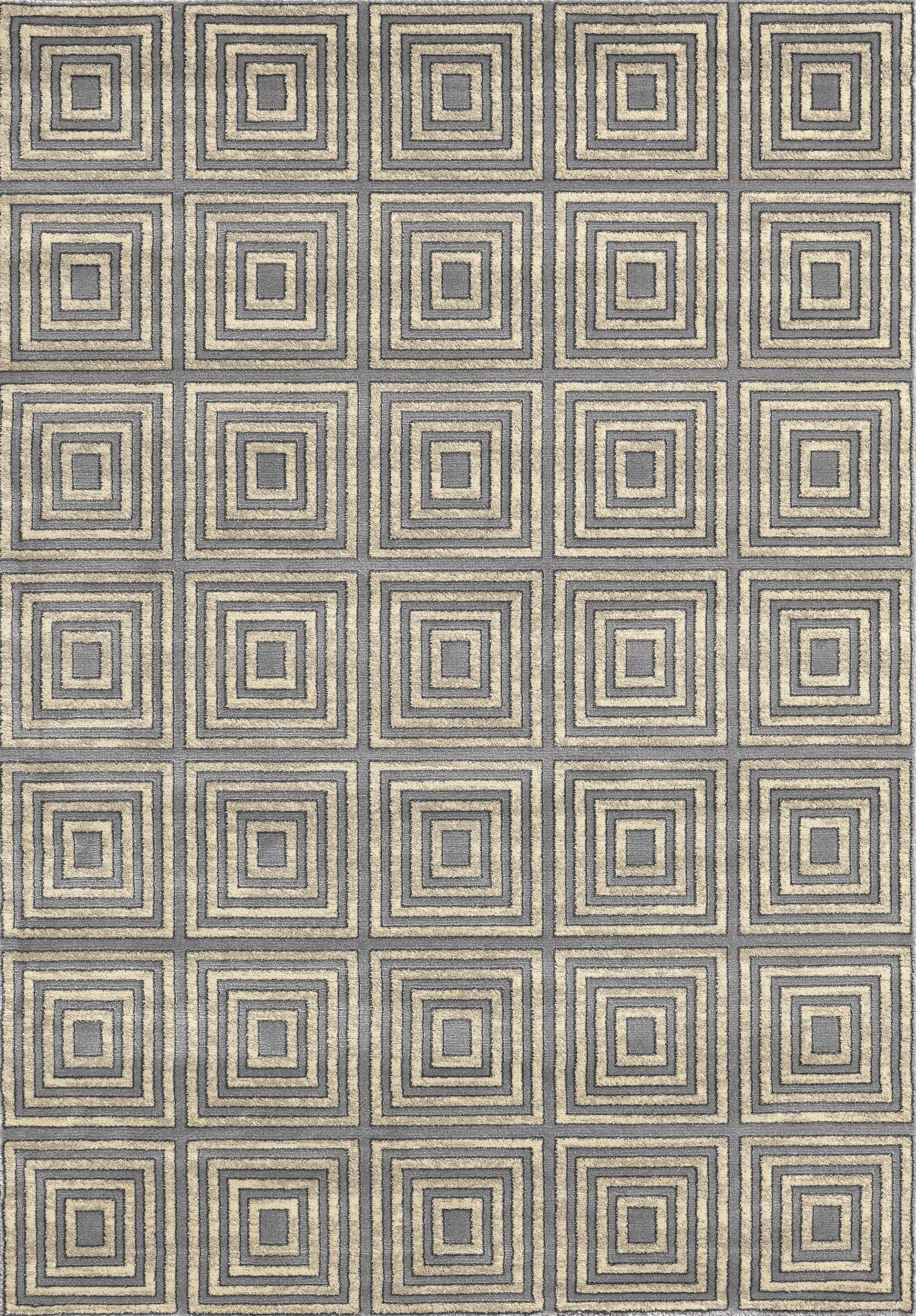 Lara Squares Blue Contemporary Rectangular Rug Rug Size: Rectangle 5'3