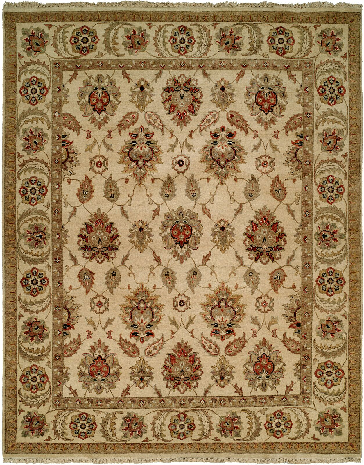 Fatehabad Hand-Knotted Ivory Area Rug Rug Size: Rectangle 2' x 3'