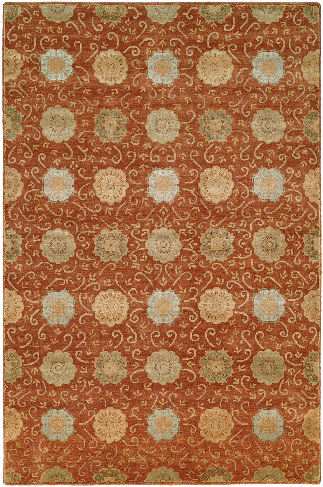 Faridkot Hand-Knotted Rust Area Rug Rug Size: Rectangle 9' x 12'