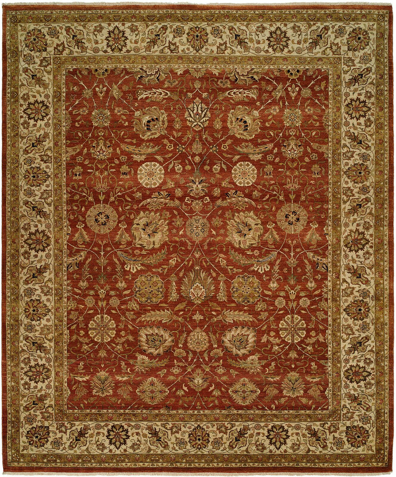 Diphu Hand-Knotted Rust/Ivory Area Rug Rug Size: Rectangle 9' x 12'