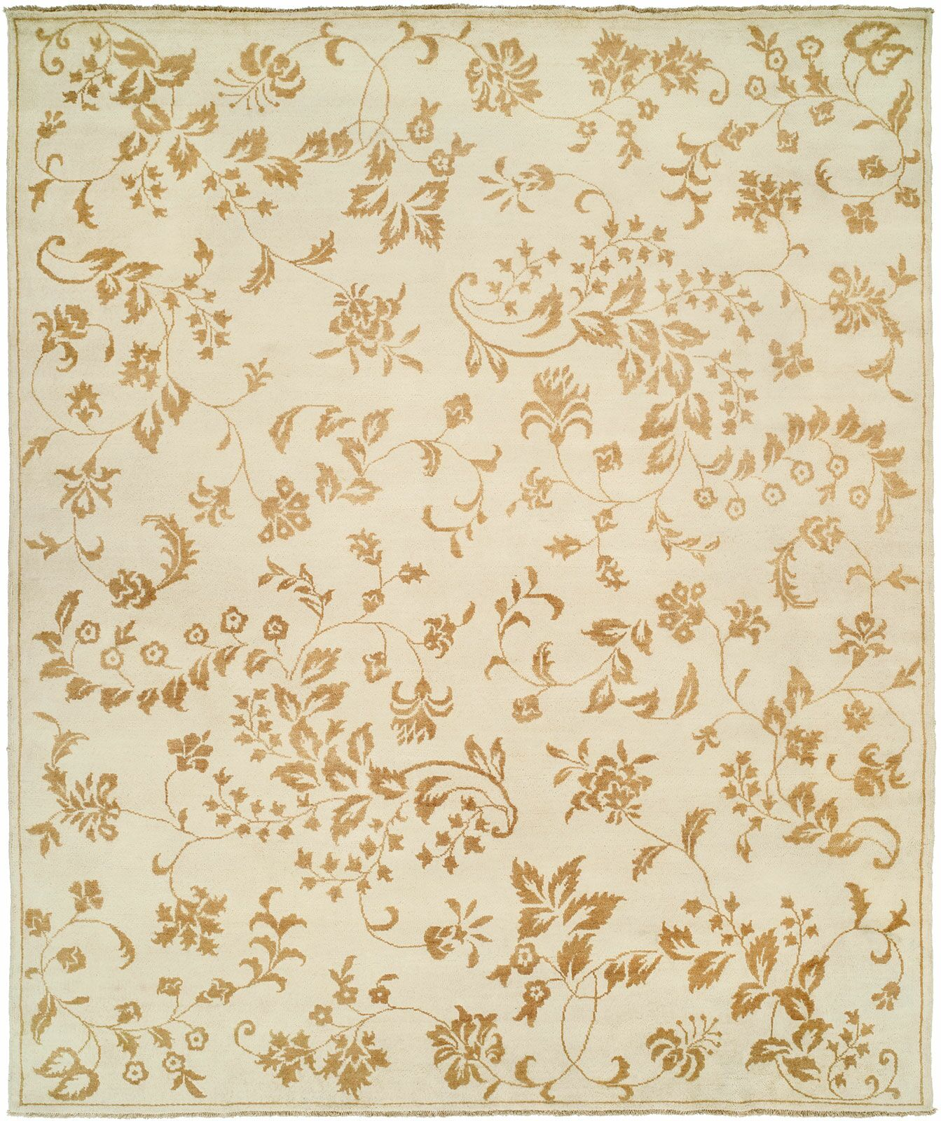 Dumka Hand-Knotted Gold Area Rug Rug Size: 6' x 9'