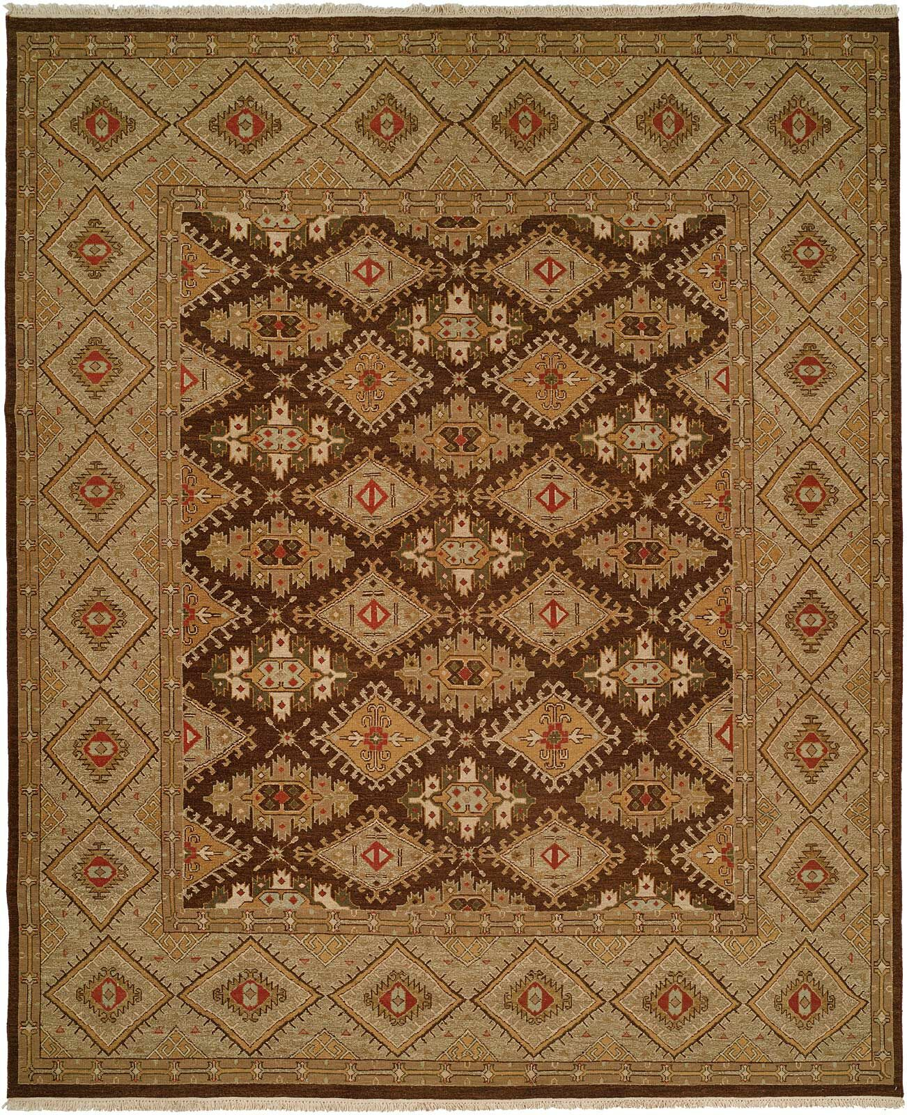 Forbesganj Hand-Knotted Brown/Green Area Rug Rug Size: Runner 2'6