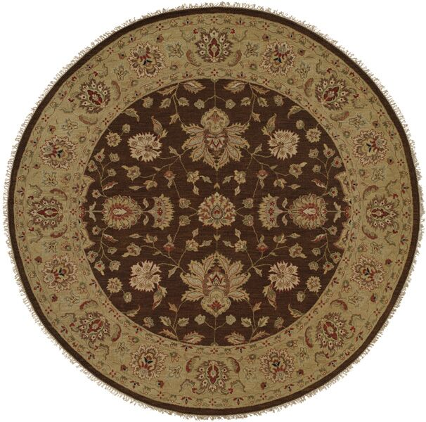 Dhenkanal Hand-Knotted Brown / Gold Area Rug Rug Size: Round 10'