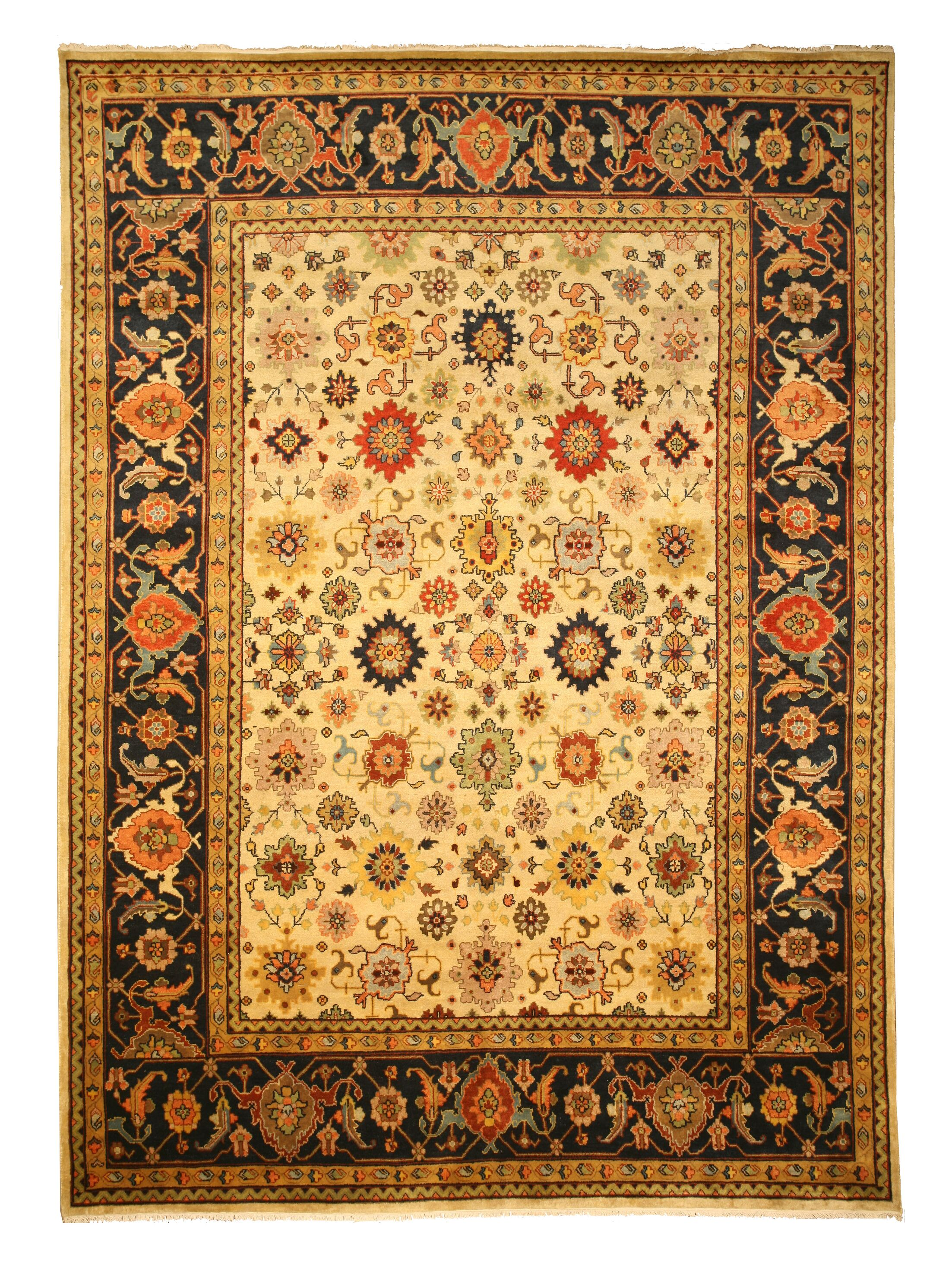 Ladnu Hand-Knotted Ivory Area Rug Rug Size: Rectangle 6' x 9'