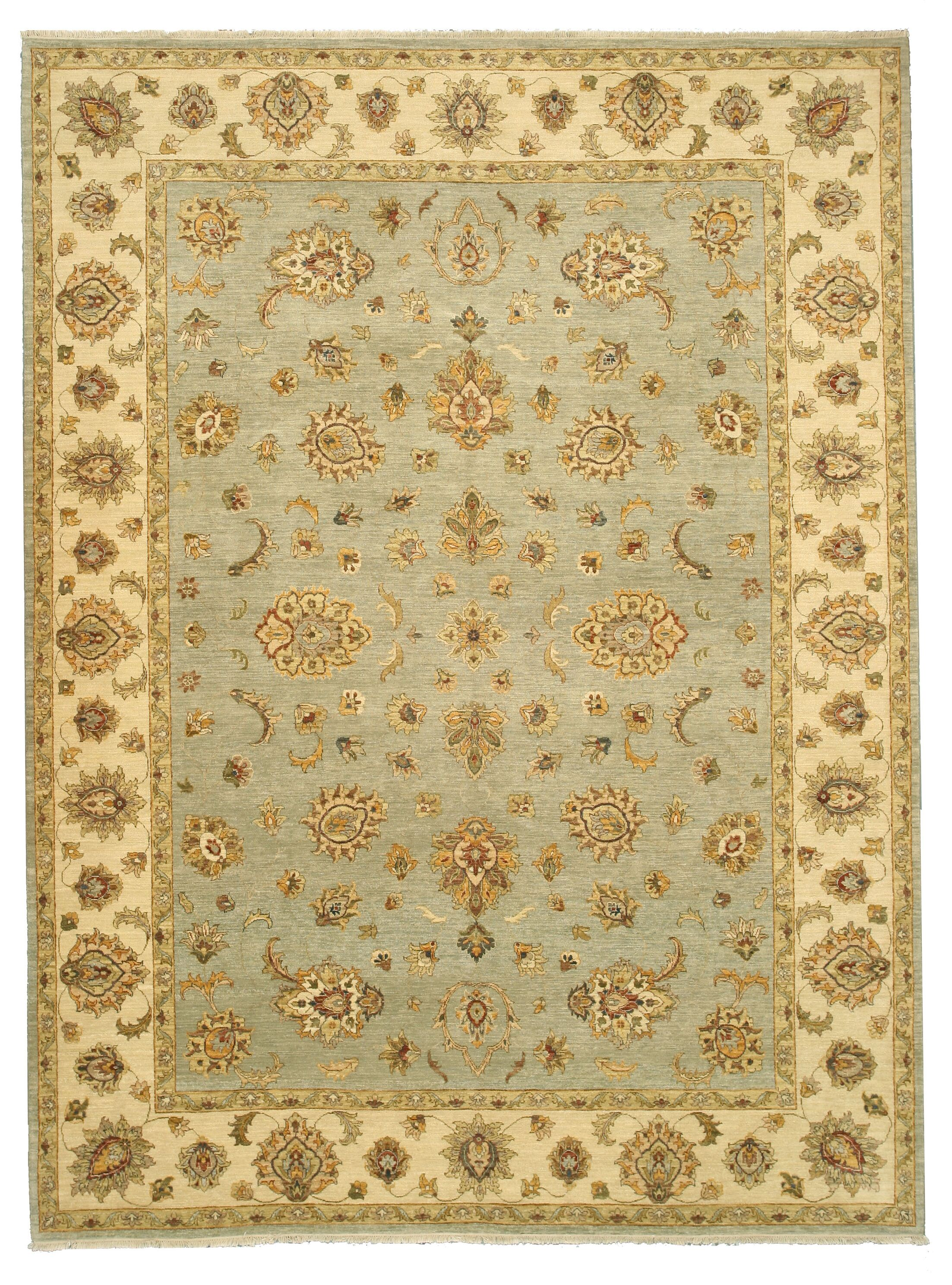 Mainaguri Hand-Knotted Blue/Beige Area Rug