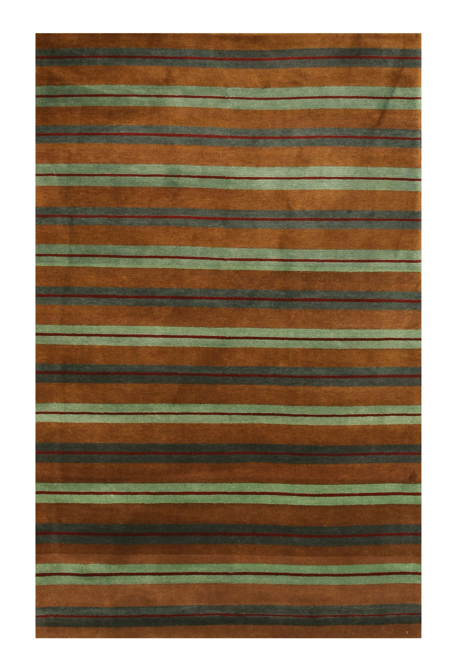 Hand-Knotted Green/Brown Area Rug