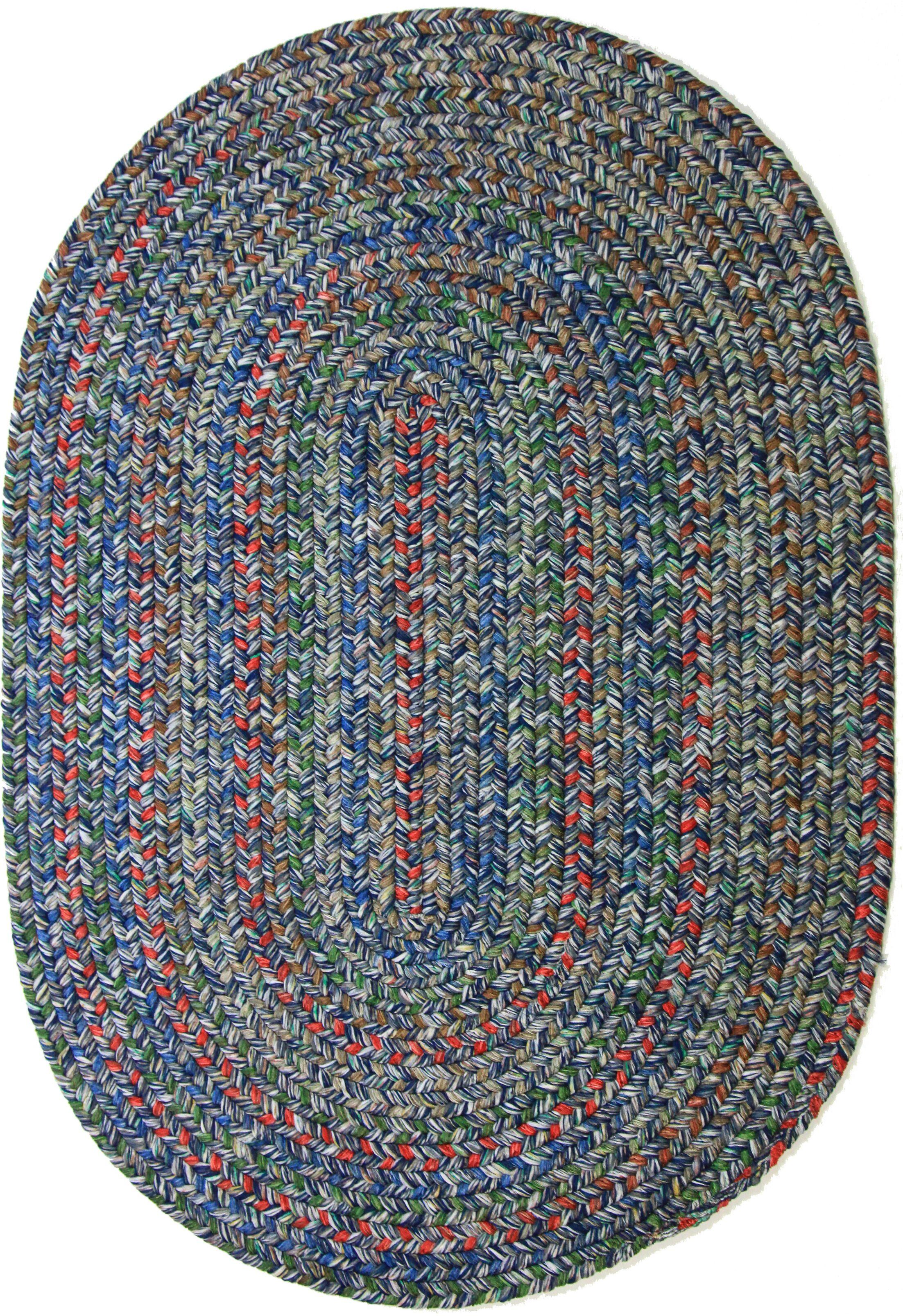Rudauli Blue Indoor/Outdoor Area Rug Rug Size: Oval 5' x 8'