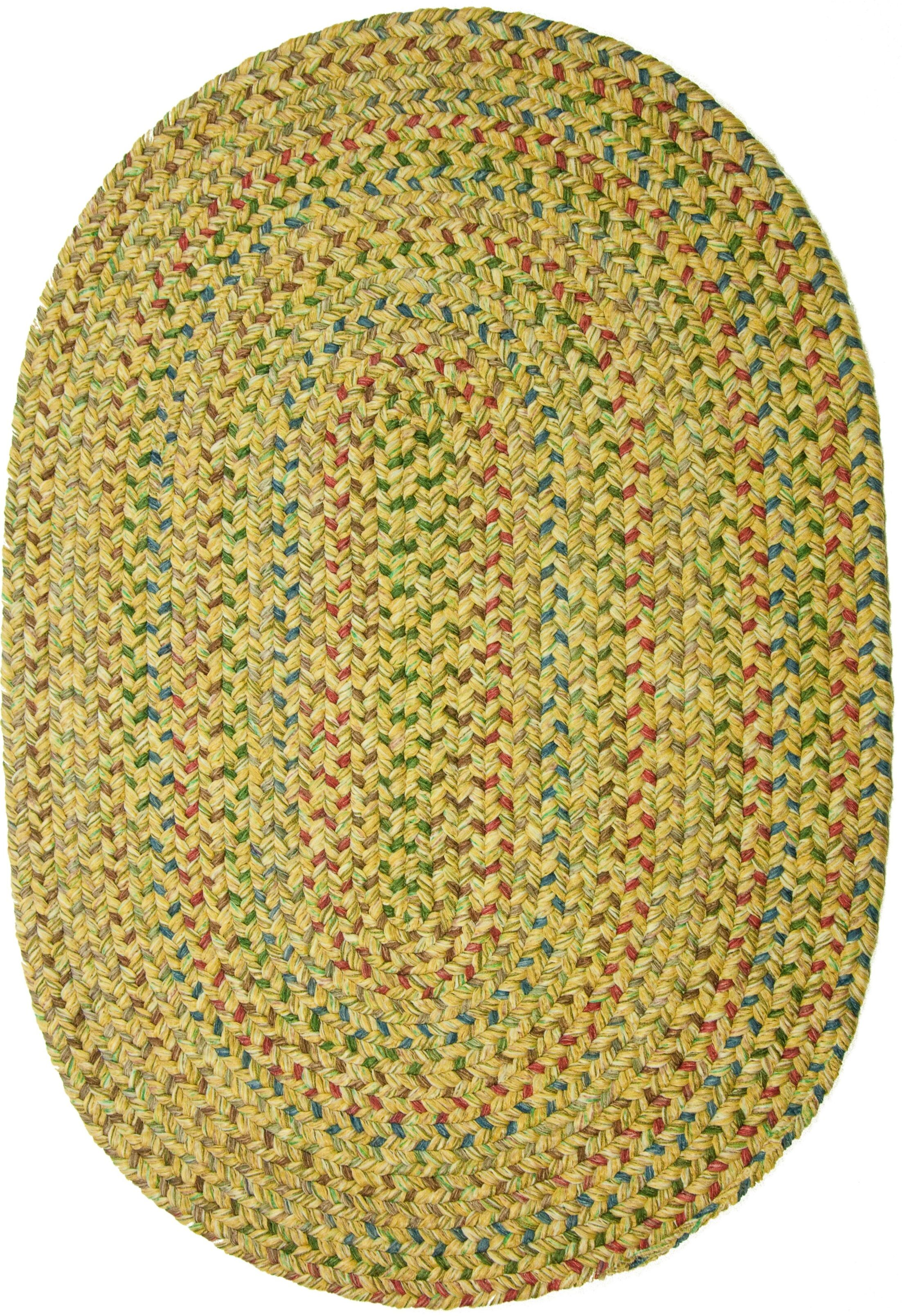 Rupnagar Green/Yellow Indoor/Outdoor Area Rug Rug Size: Oval 5' x 8'