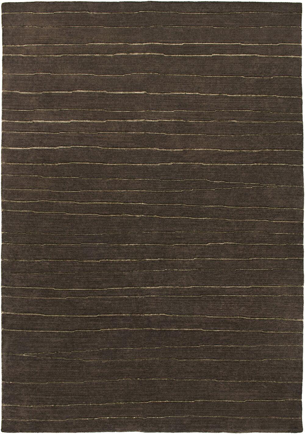 Visnagar Hand-Knotted Dark Brown Area Rug Rug Size: Rectangle 9' x 12'