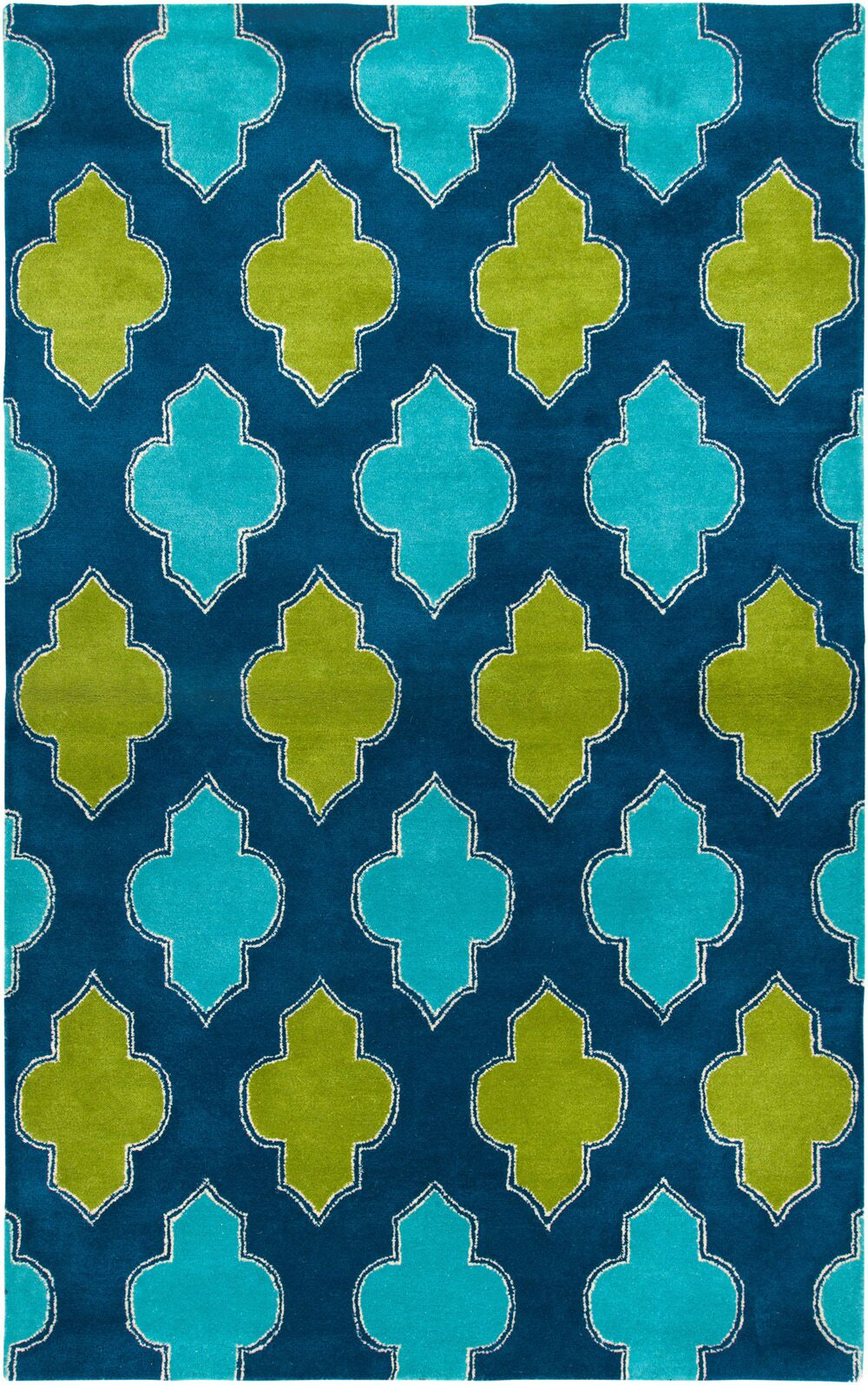 Ivory Hand-Tufted Blue/Green Area Rug Rug Size: Rectangle 5' x 8'