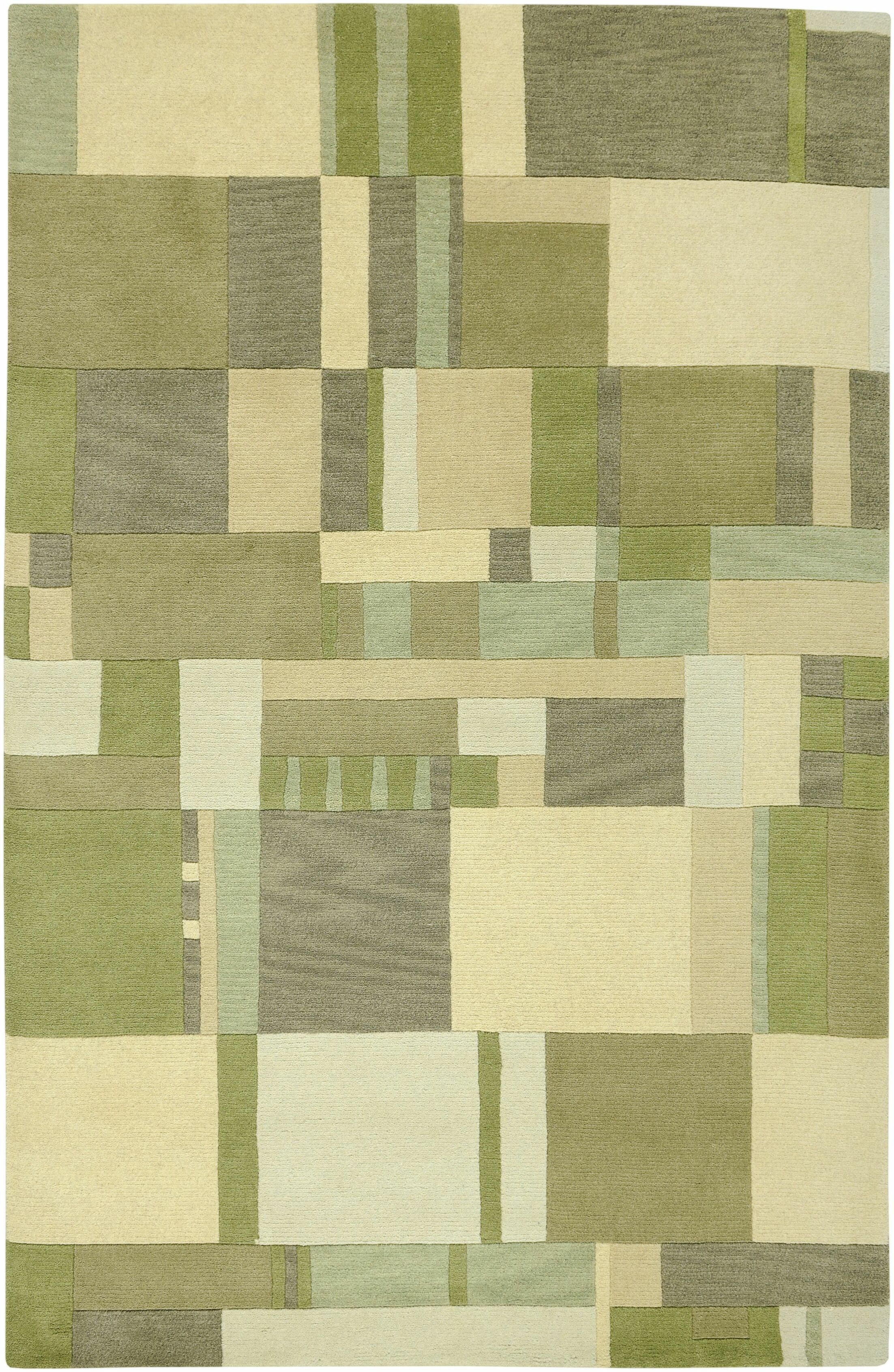 Leone Hand-Knotted Green/Tan Area Rug Rug Size: Rectangle 5' x 8'