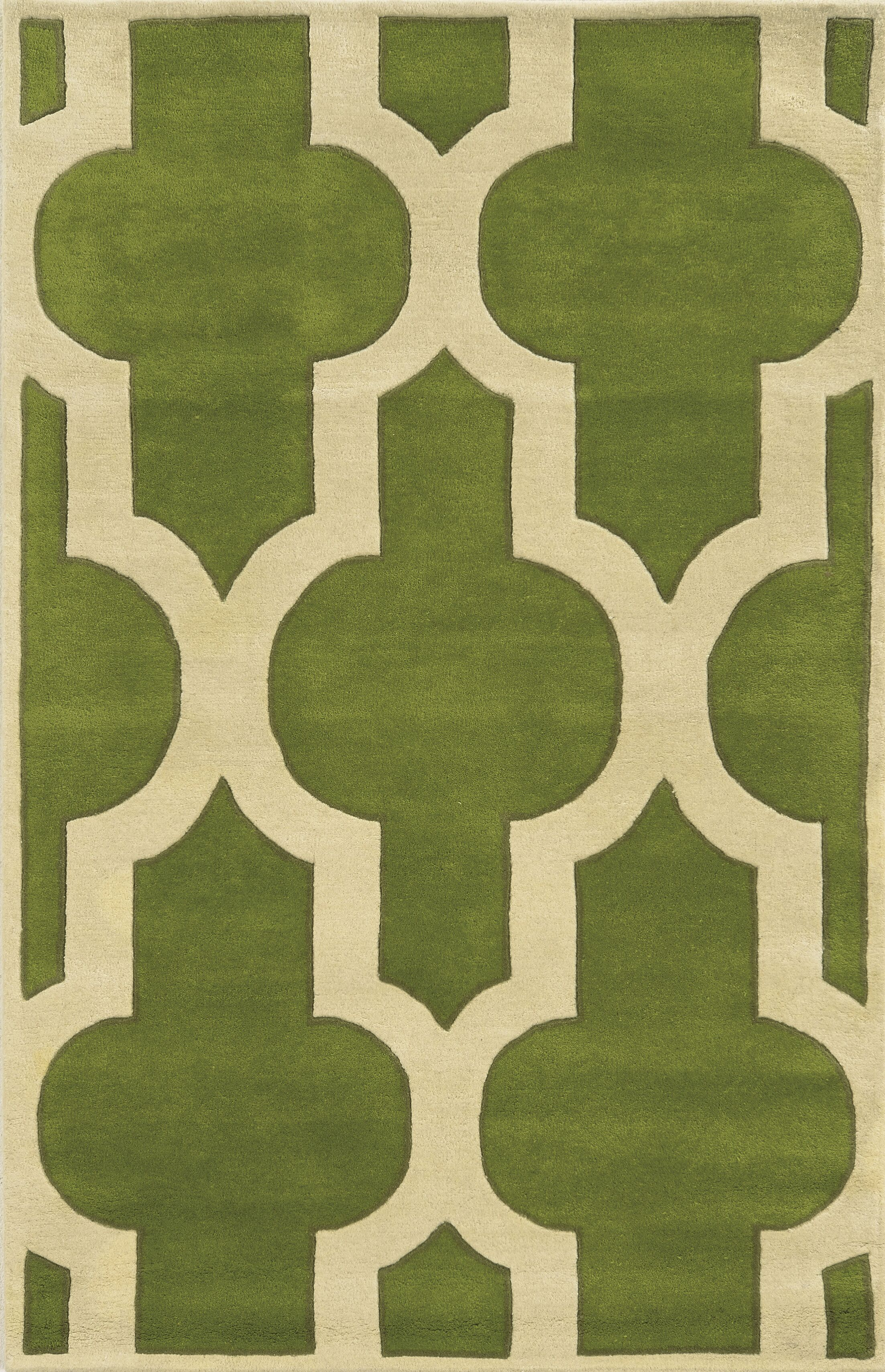 Marghera Hand-Tufted Green/Ivory Area Rug Rug Size: Rectangle 5' x 8'