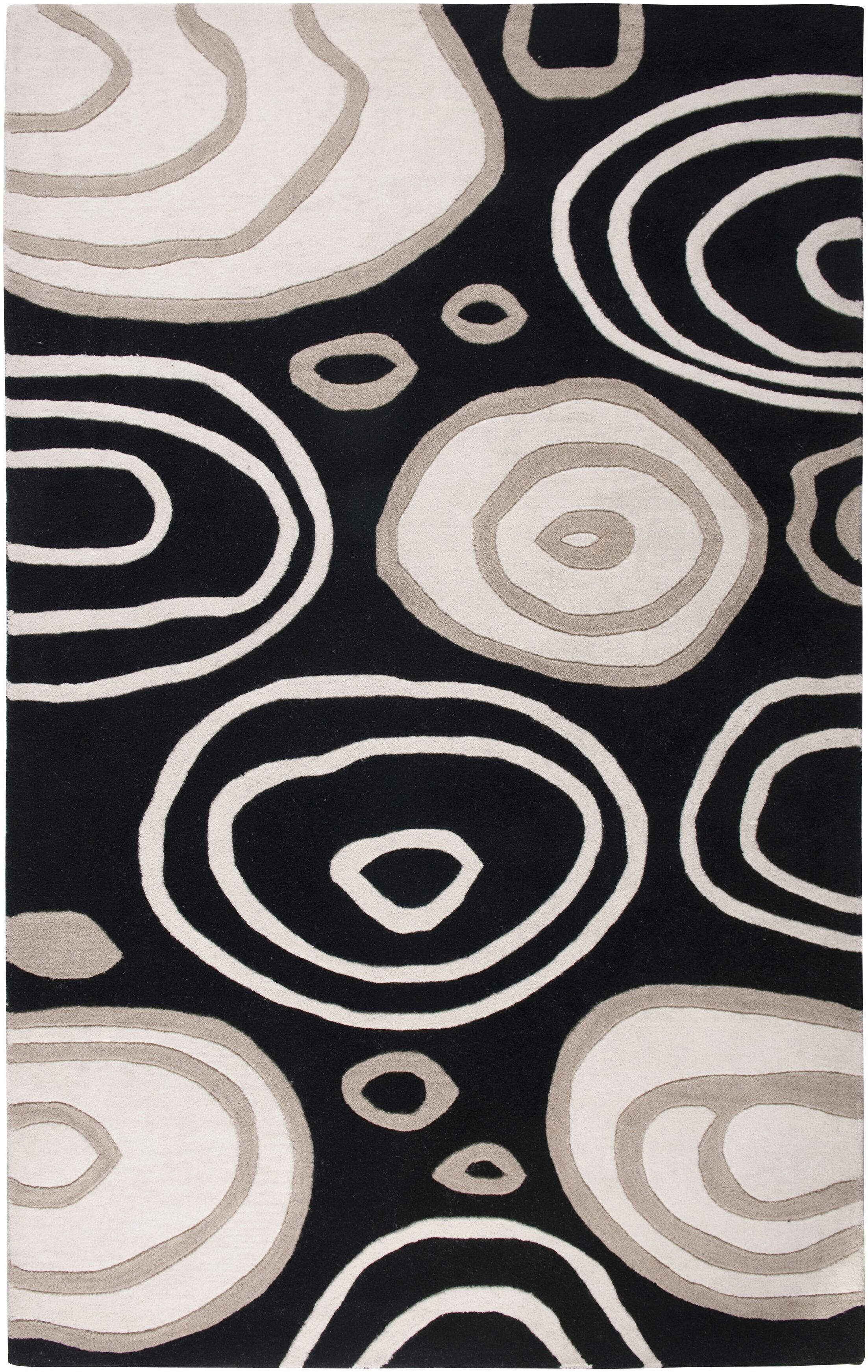 Iskenderun Hand-Tufted Black/White Area Rug Rug Size: Rectangle 5' x 8'