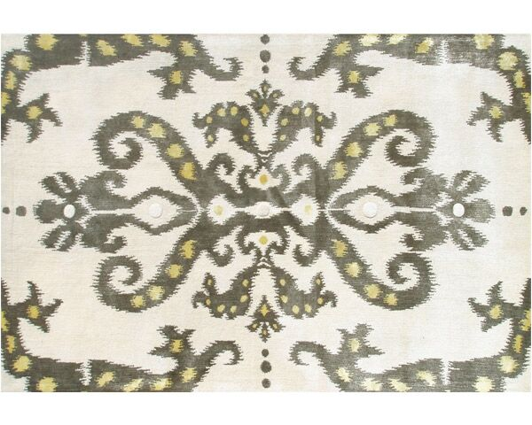 Thamesport Hand-Tufted Cream/Green Area Rug Rug Size: 5' x 8'