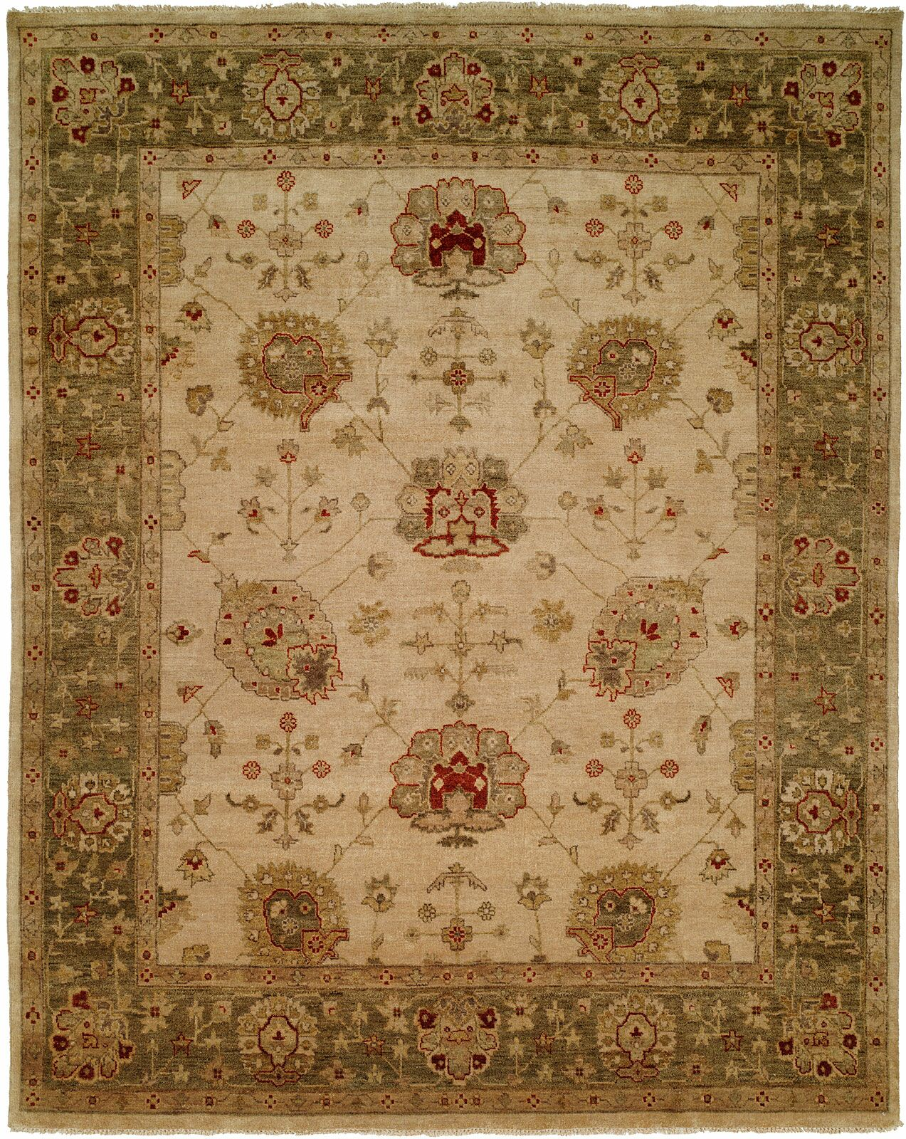 Geelong Hand-Knotted Ivory/ Green Area Rug Rug Size: Rectangle 2' x 3'