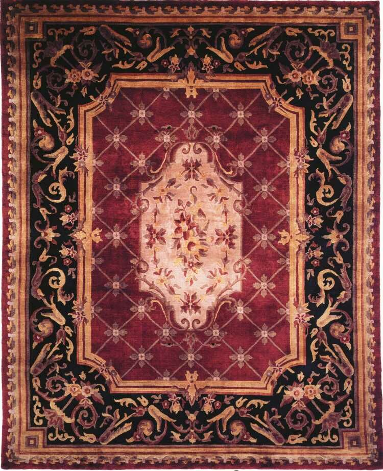 Hand-Knotted Purple/Black Area Rug Rug Size: Rectangle 9' x 12'
