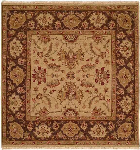 Hand-Knotted Brown Area Rug Rug Size: Square 6'