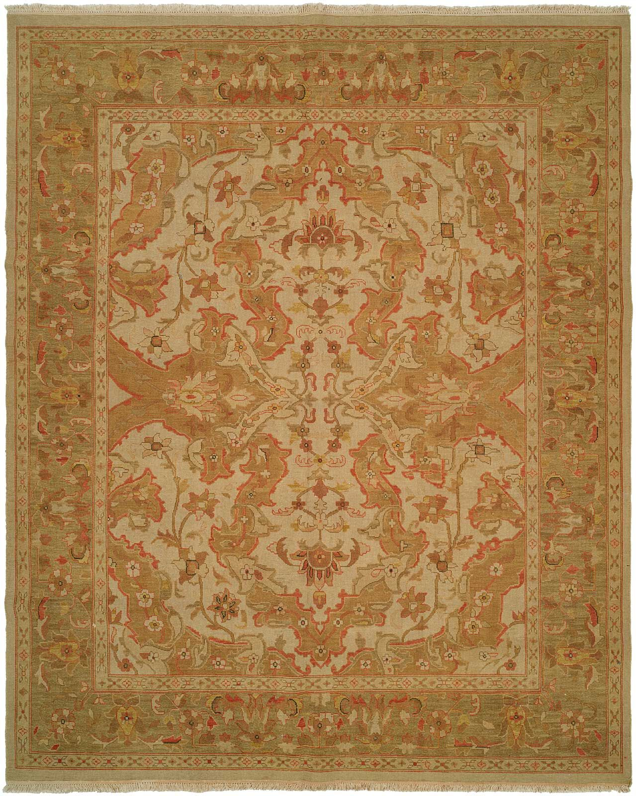 Hand-Knotted Beige/Soft Gold Area Rug Rug Size: Rectangle 8' x 10'