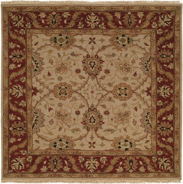 Hand-Knotted Beige/Red Area Rug Rug Size: Square 6'