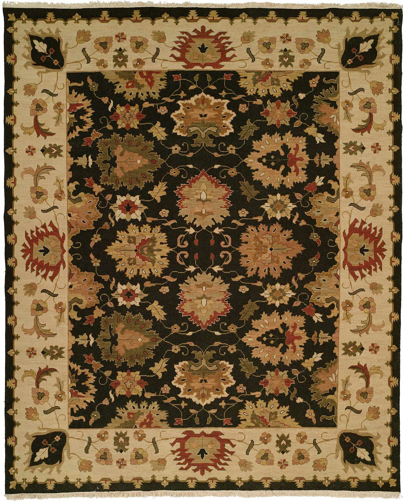 Hand-Knotted Black/Beige Area Rug Rug Size: Rectangle 4' x 8'