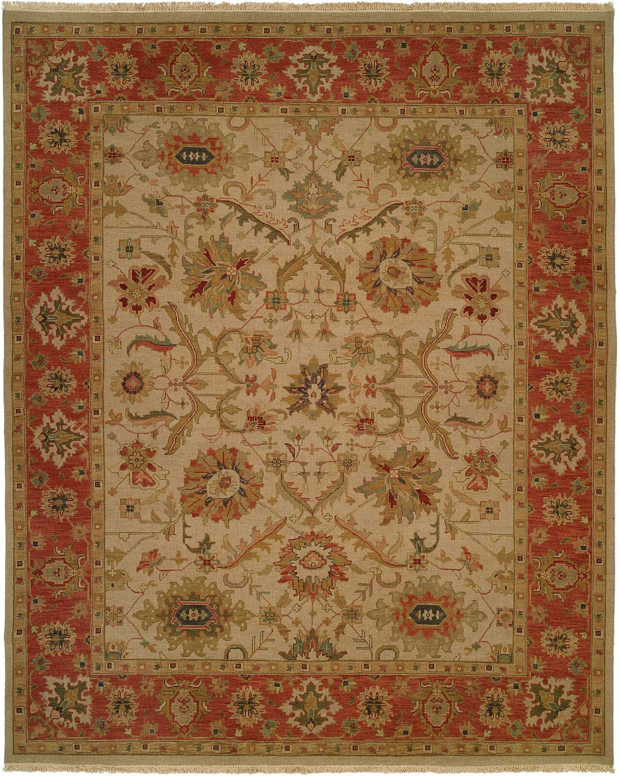 Kamel Hand-Woven Beige/Red Area Rug Rug Size: Rectangle 6' x 9'