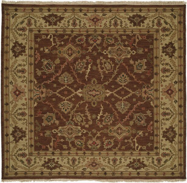 Qingdao Hand-Woven Brown/Beige Area Rug Rug Size: Square 6'
