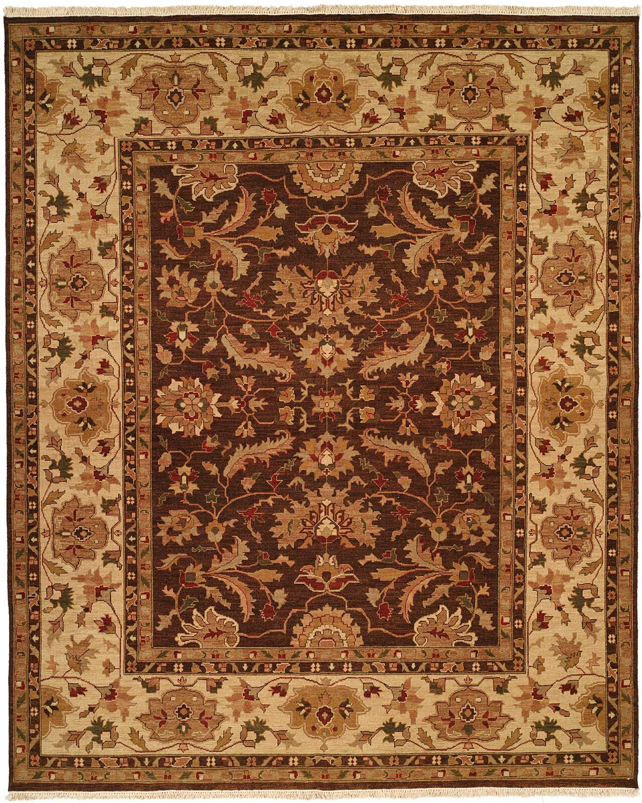 Tianjin Hand-Woven Brown/Beige Area Rug Rug Size: Rectangle 6' x 9'