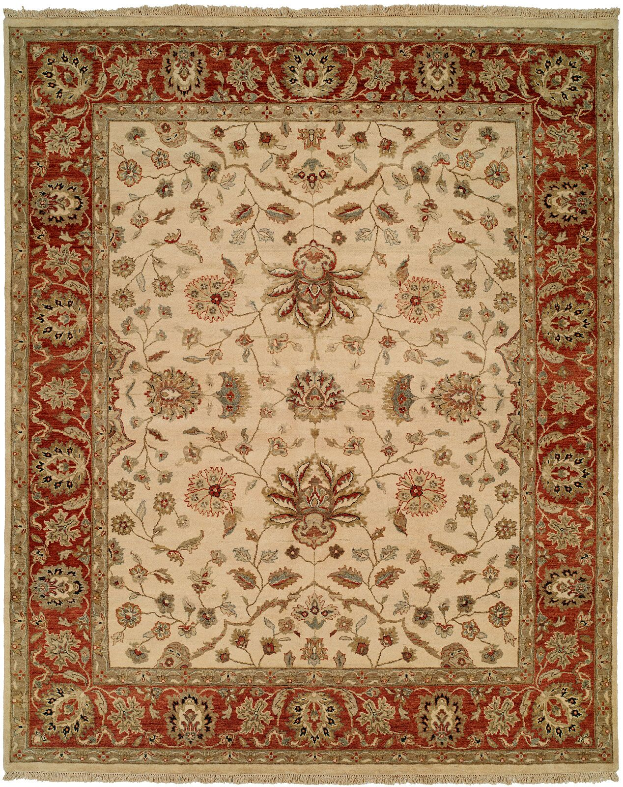 Amin Hand-Knotted Brown/Beige Area Rug Rug Size: 6' x 9'