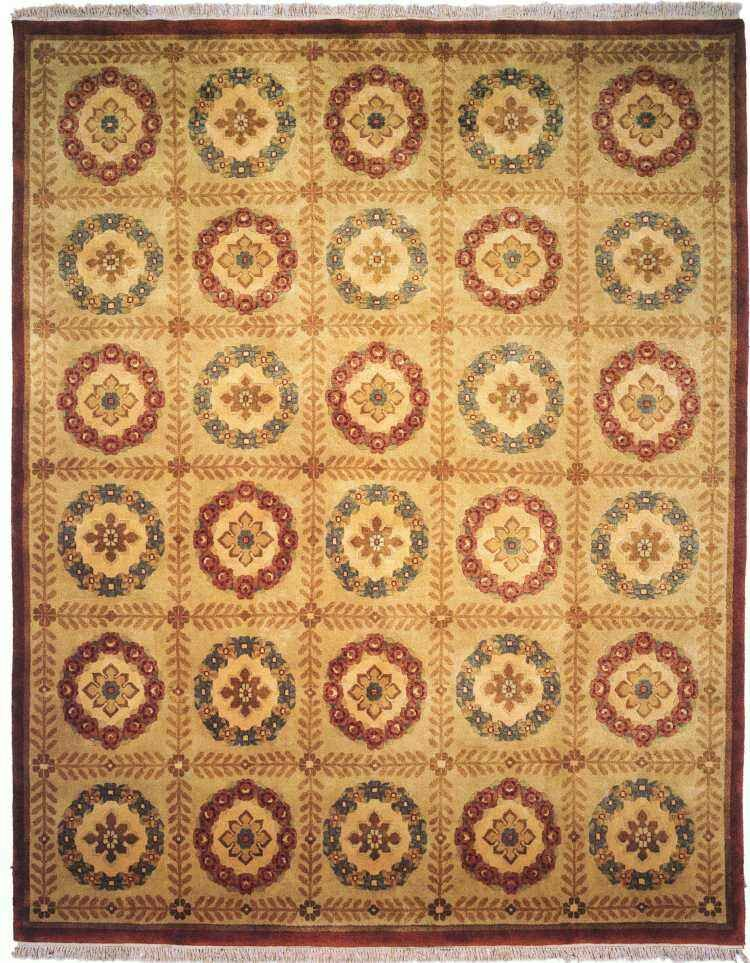 Bahri Hand-Knotted Beige Area Rug Rug Size: 6' x 9'