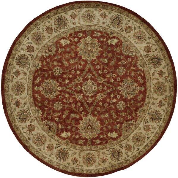 Chaudhary Hand-Woven Red/Beige Area Rug Rug Size: Round 8'