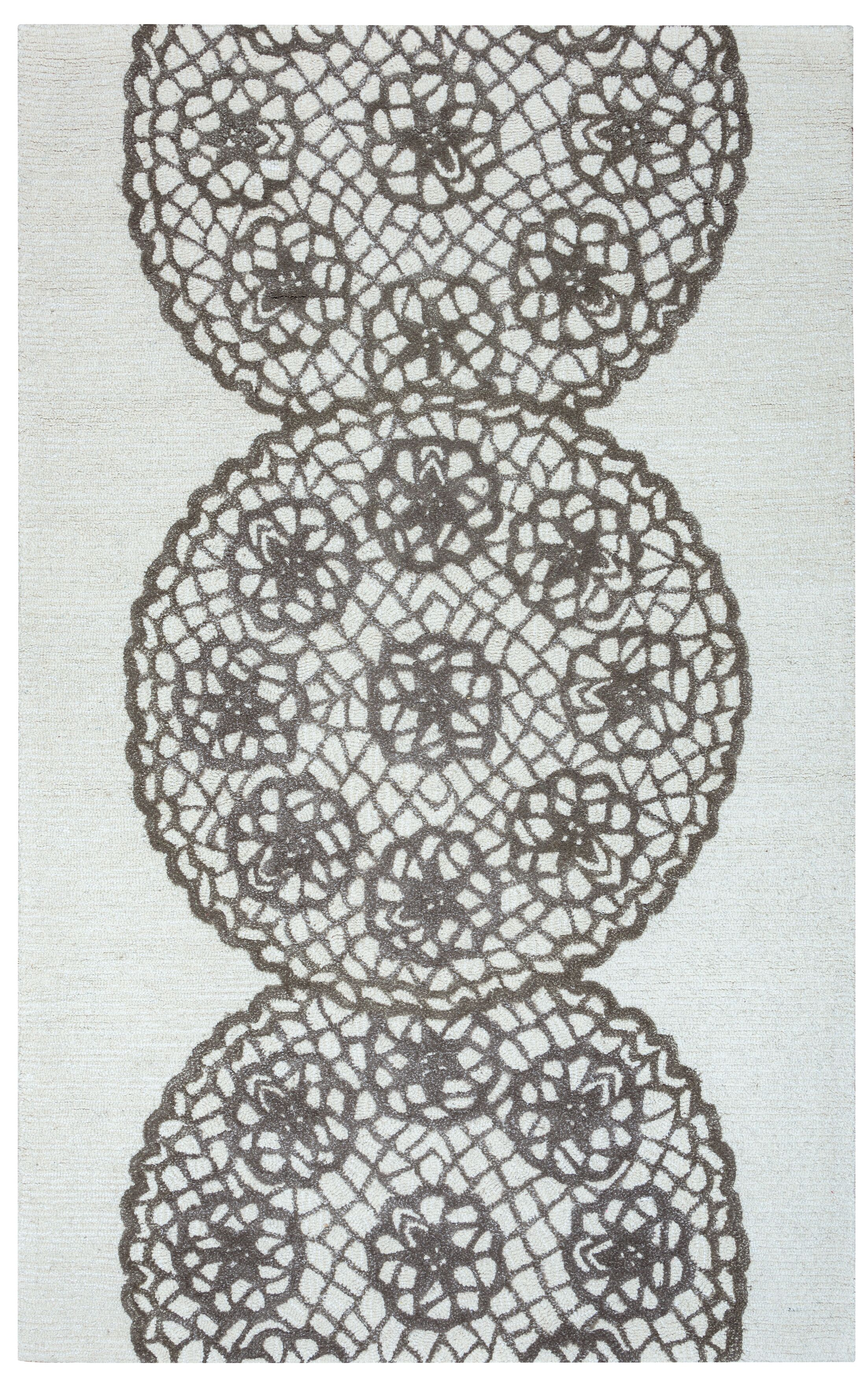 Rico Hand-Hooked Gray Area Rug Rug Size: Rectangle 2' x 3'
