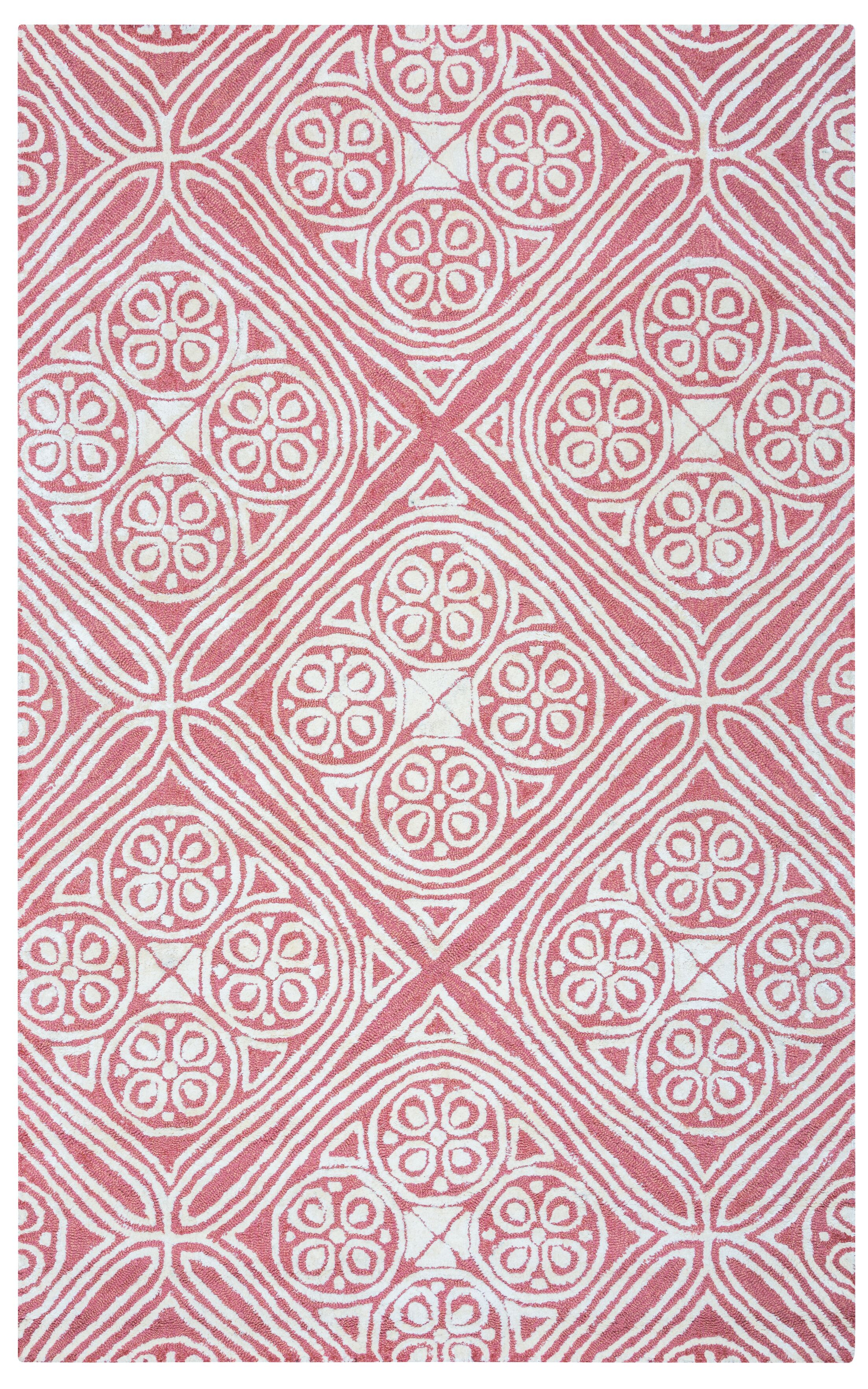 Belfast Hand-Tufted Pink/Ivory Area Rug Rug Size: Rectangle 5' x 8'