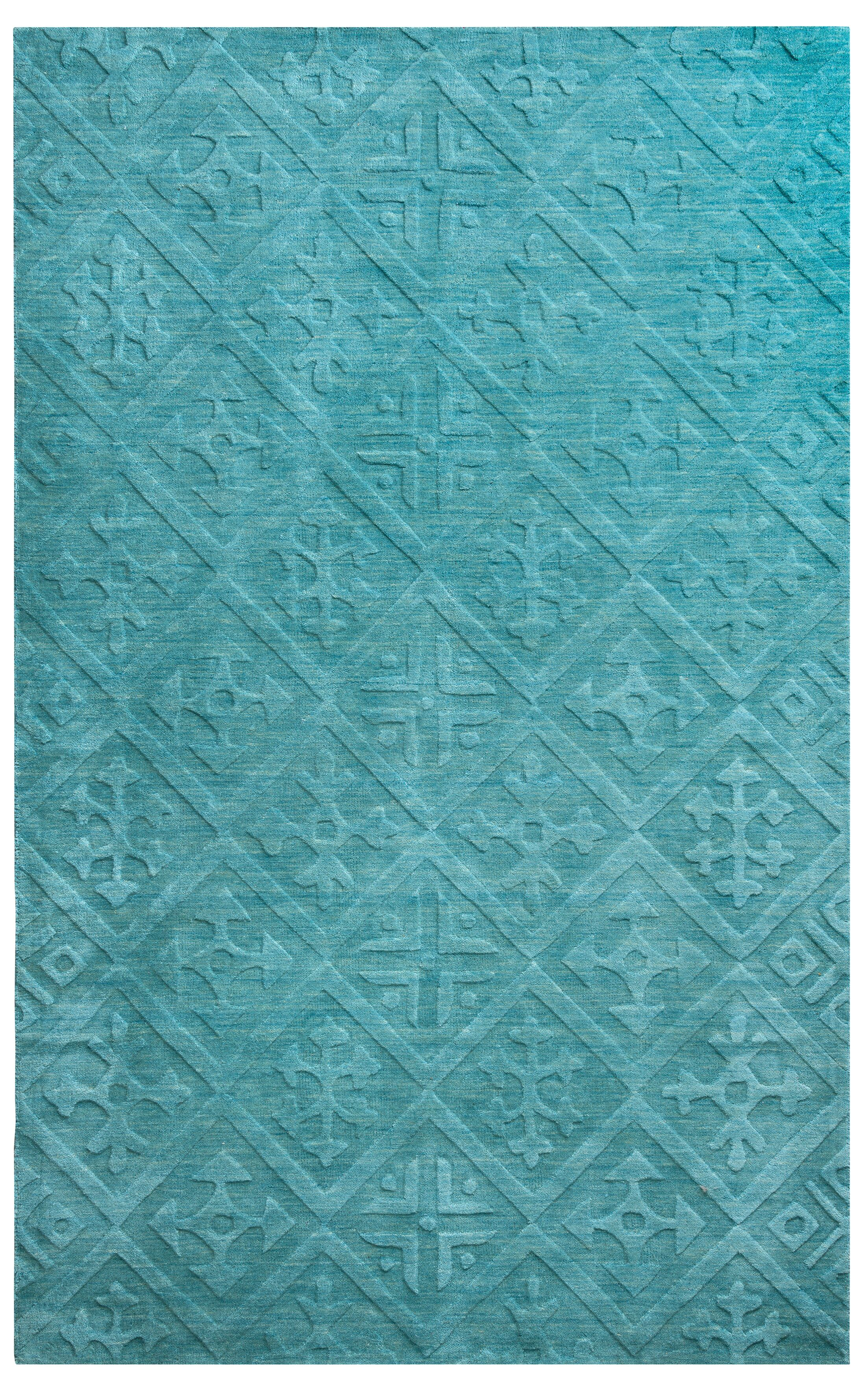 Split Hand-Loomed Teal Area Rug Rug Size: Rectangle 9' x 12'