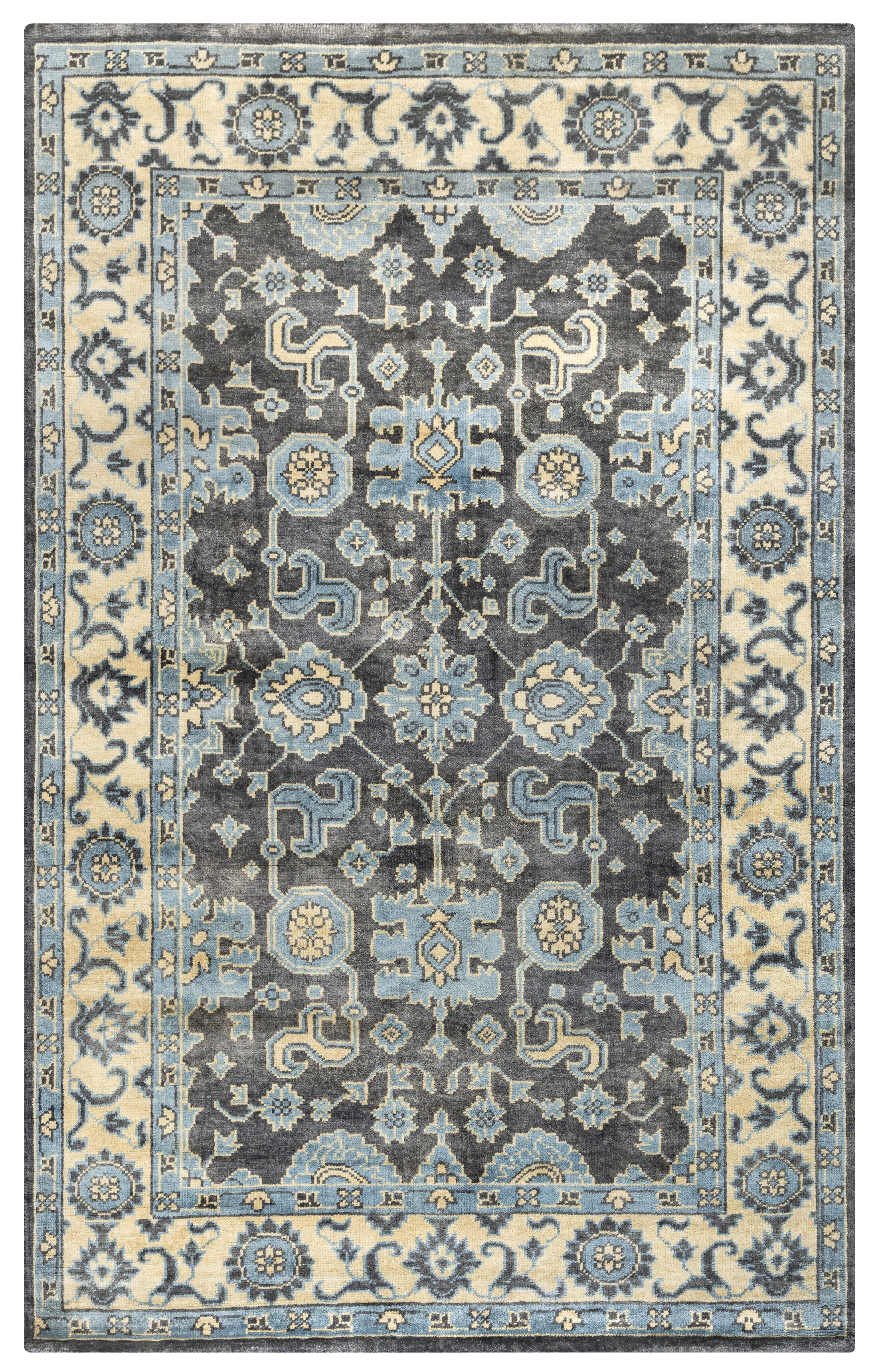 Basse Hand-Knotted Ivory/Charcoal Area Rug Rug Size: Rectangle 2' x 3'