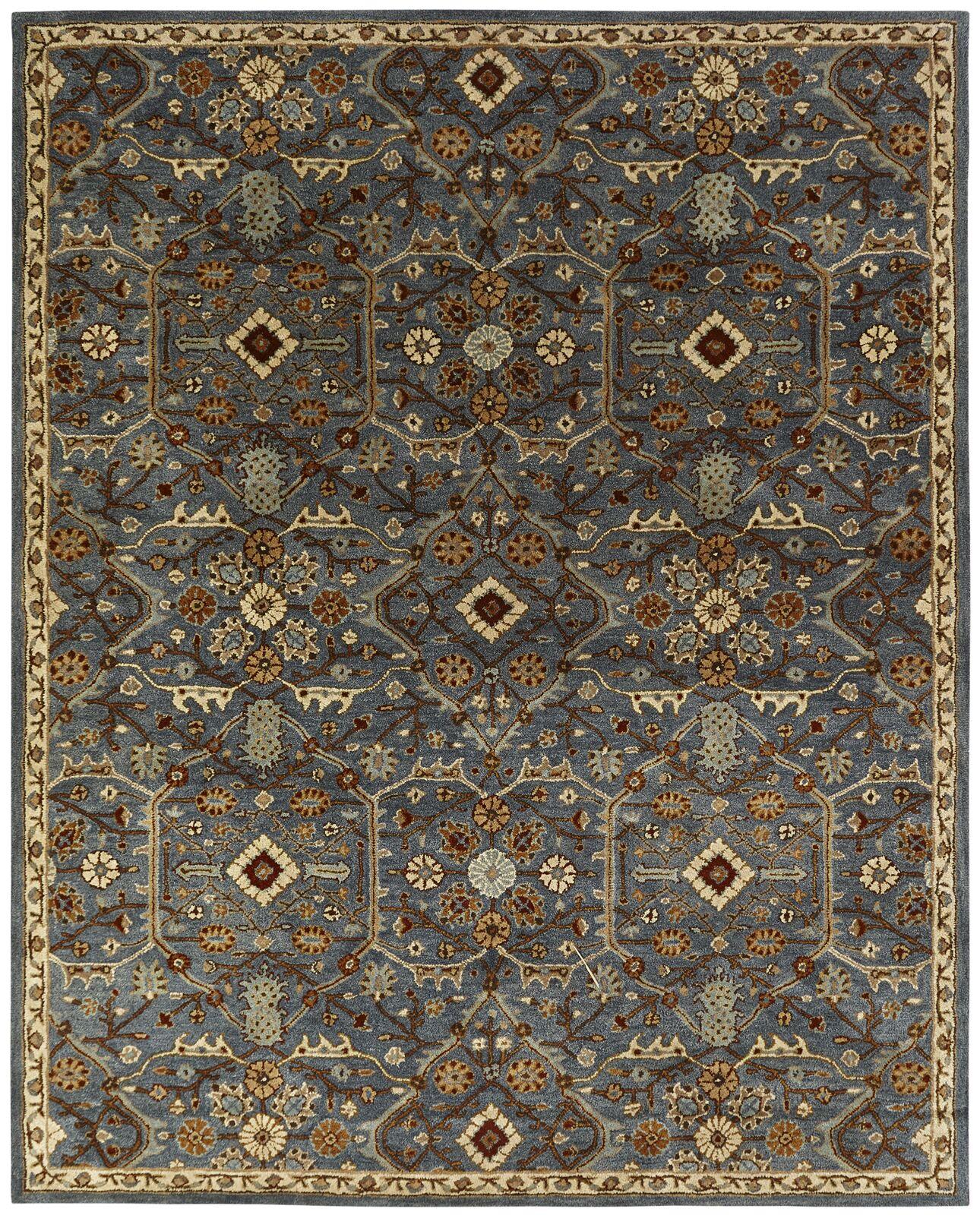 Chana Hand-Woven Blue/Brown Area Rug Rug Size: Rectangle 3'6
