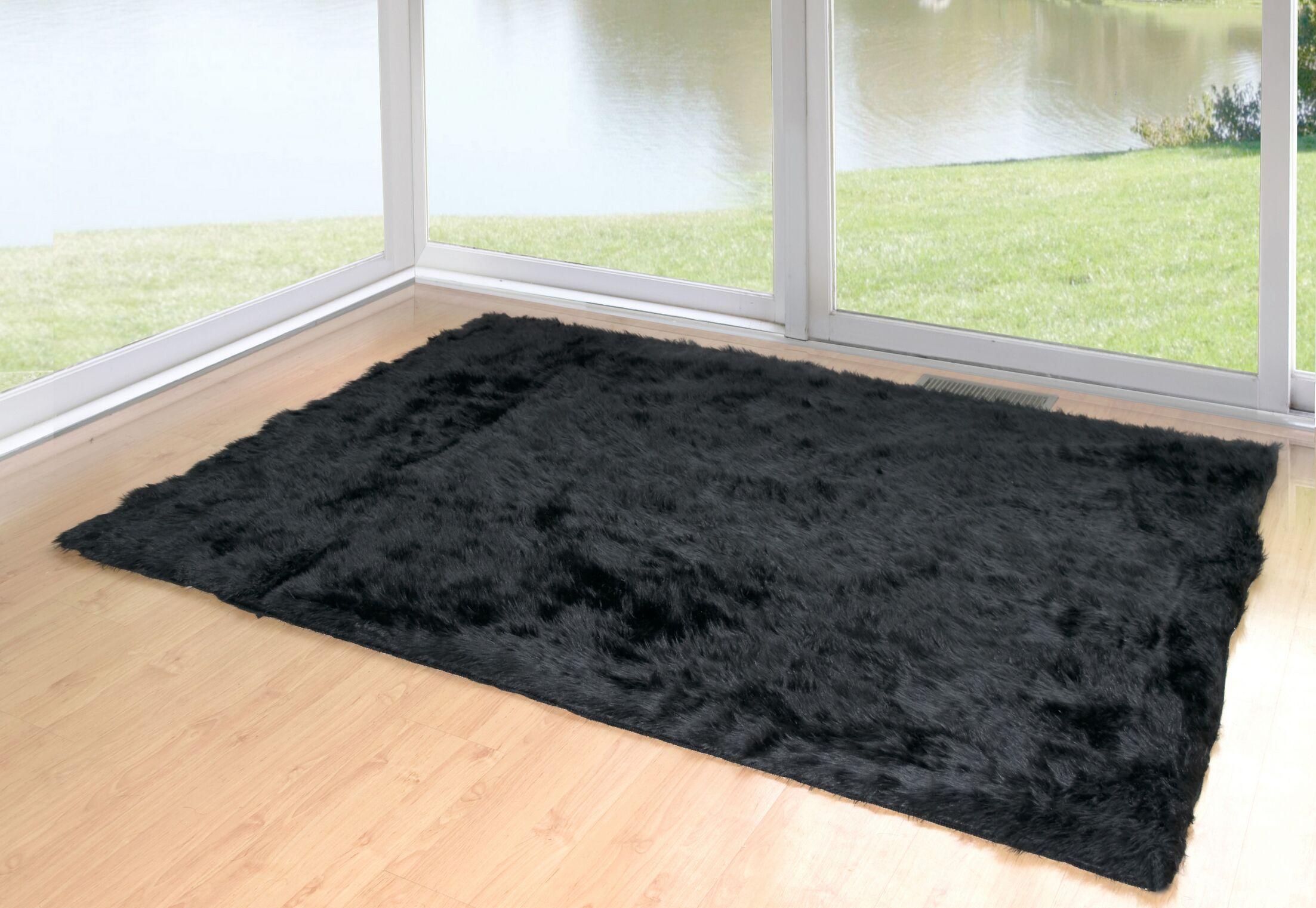 Anvi Faux Fur Black Area Rug Rug Size: Rectangle 5' x 8'