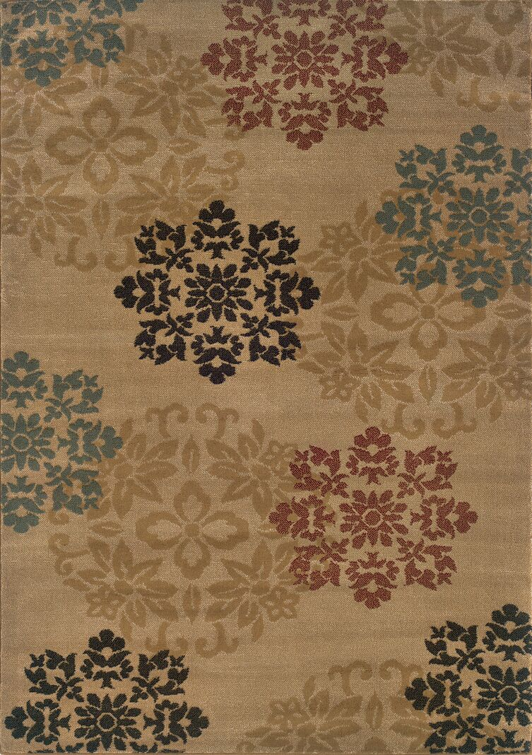 Gannaway Gold/Red Area Rug Rug Size: Rectangle 7'10
