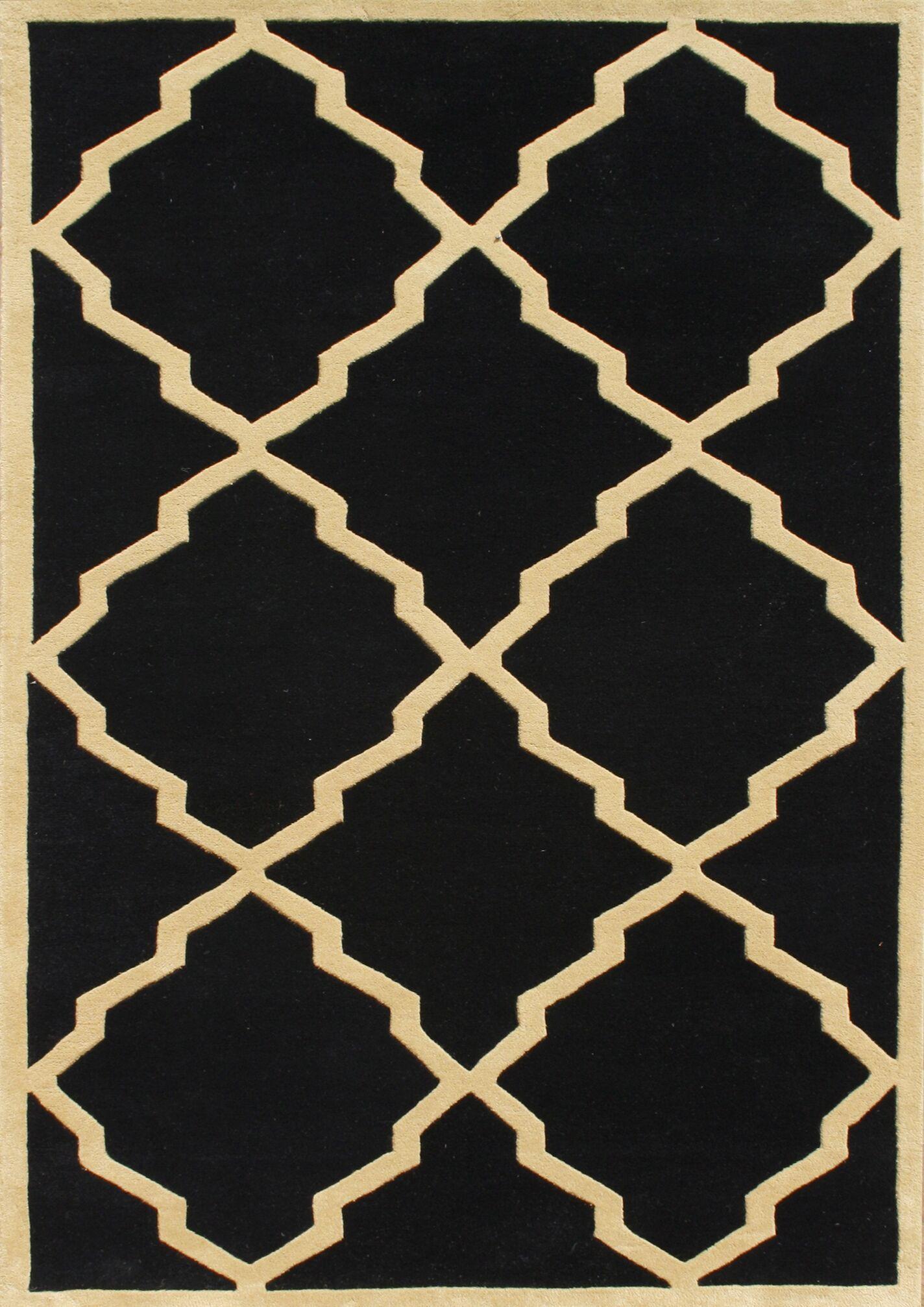 Jamestown Hand-Woven Black Area Rug Rug Size: 7' x 9'