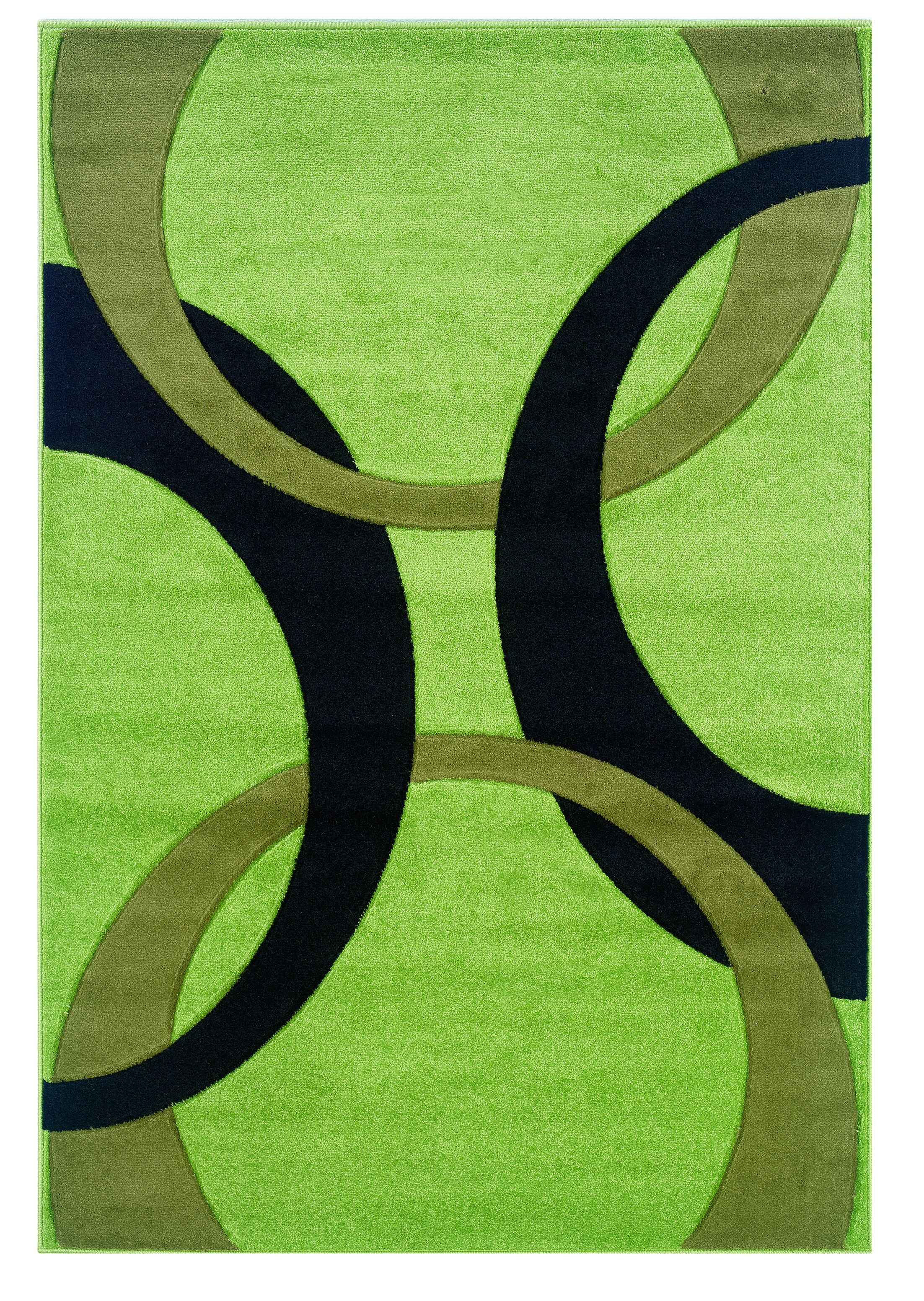 Manchester Hand-Woven Green/Black Area Rug Rug Size: Rectangle 5' x 7'7