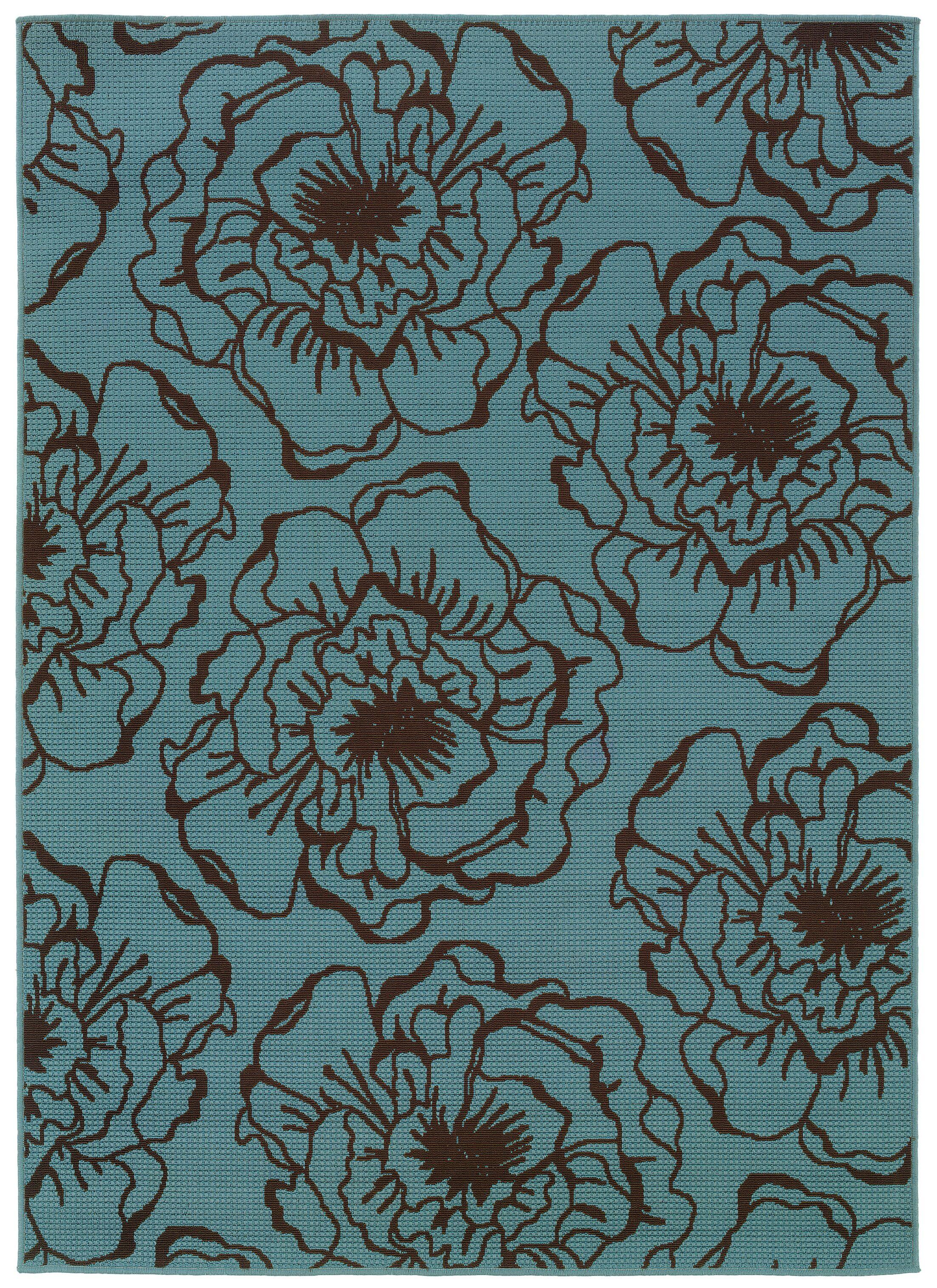 Newfield Blue/Brown Indoor/Outdoor Area Rug Rug Size: Rectangle 6'7