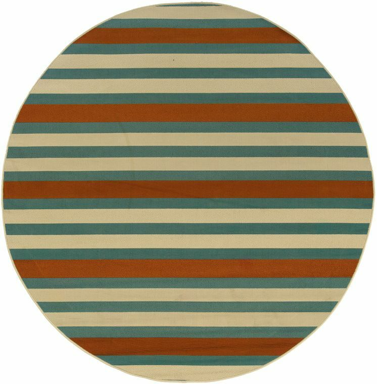 Brendel Hand-woven Blue/Ivory Indoor/Outdoor Area Rug Rug Size: Round 7'10